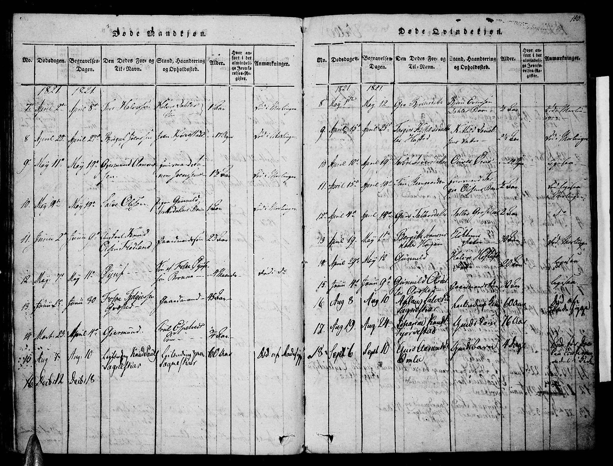 SAK, Valle sokneprestkontor, F/Fa/Fac/L0005: Ministerialbok nr. A 5 /1, 1816-1831, s. 100