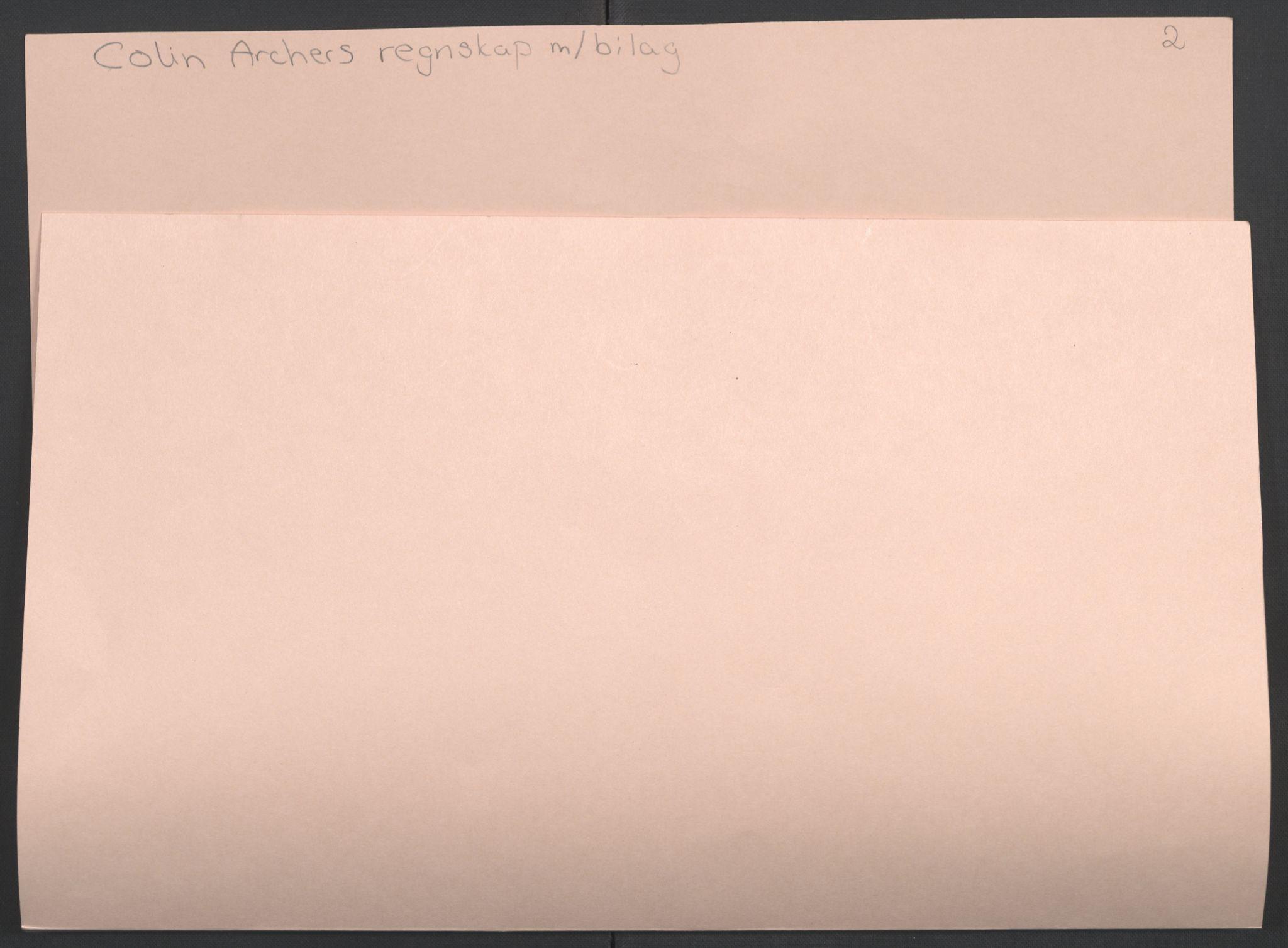 RA, Arbeidskomitéen for Fridtjof Nansens polarekspedisjon, R/L0006: Colin Archers regnskap m. bilag, 1891-1893, s. 2