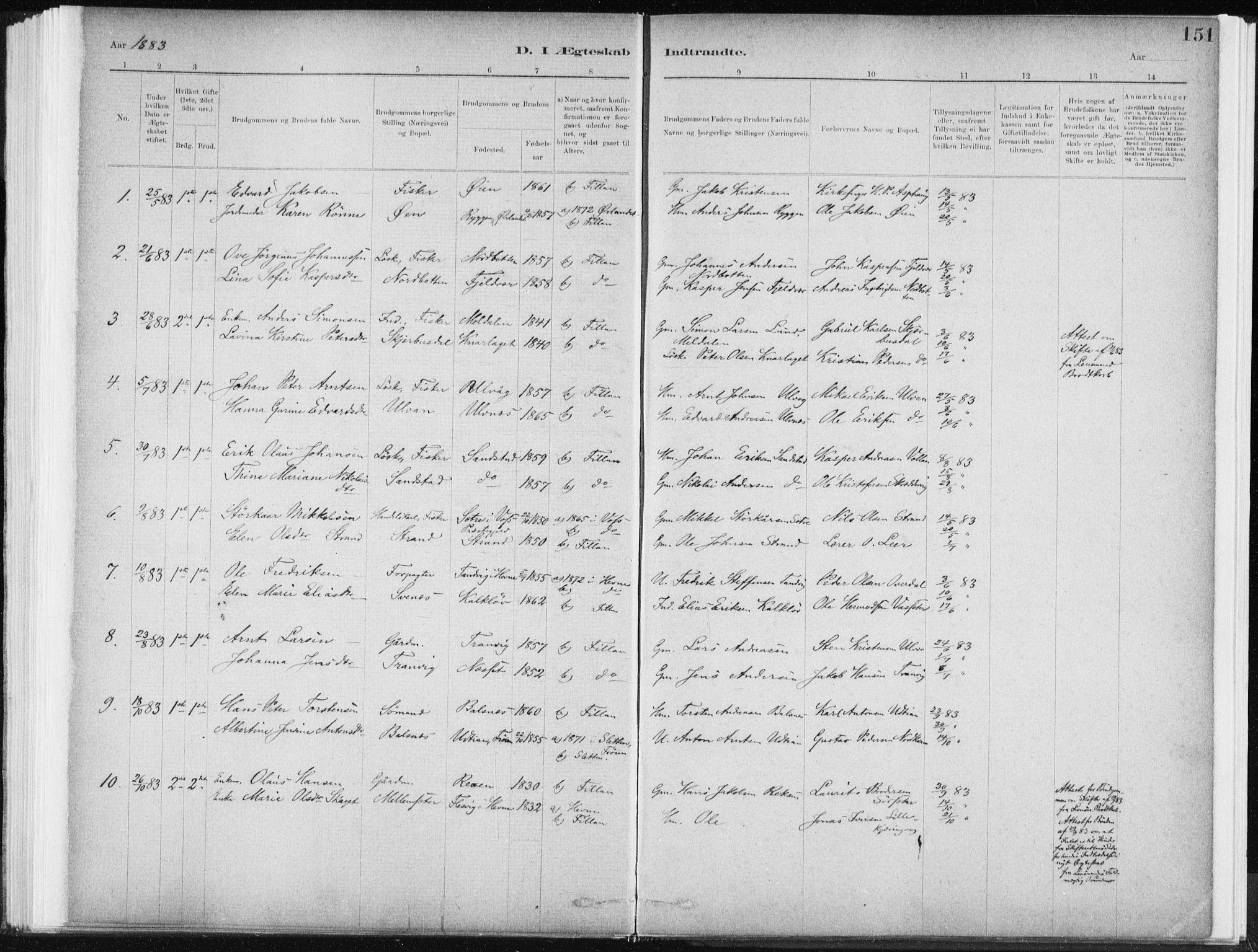 SAT, Ministerialprotokoller, klokkerbøker og fødselsregistre - Sør-Trøndelag, 637/L0558: Ministerialbok nr. 637A01, 1882-1899, s. 151
