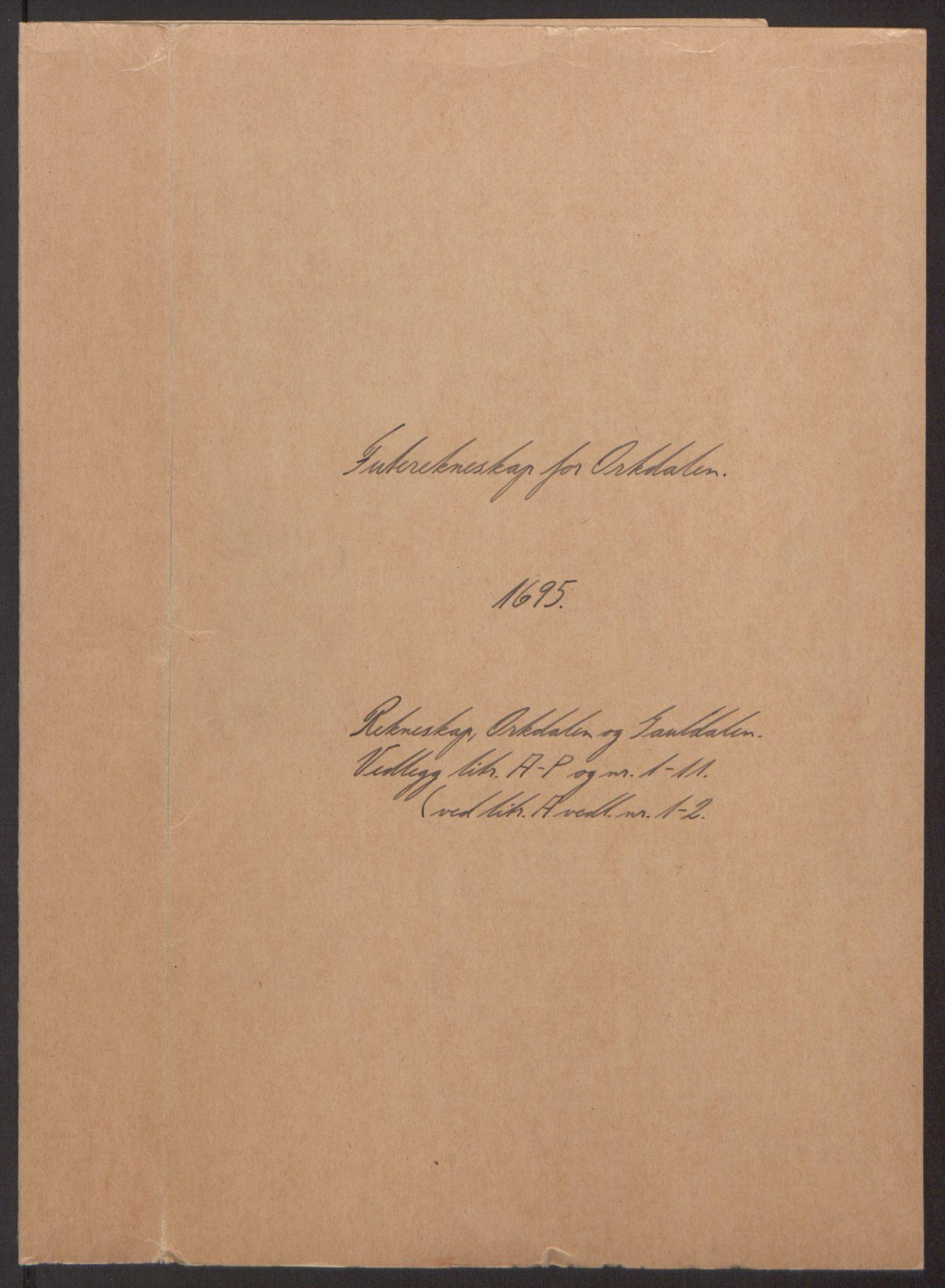 RA, Rentekammeret inntil 1814, Reviderte regnskaper, Fogderegnskap, R60/L3945: Fogderegnskap Orkdal og Gauldal, 1695, s. 2
