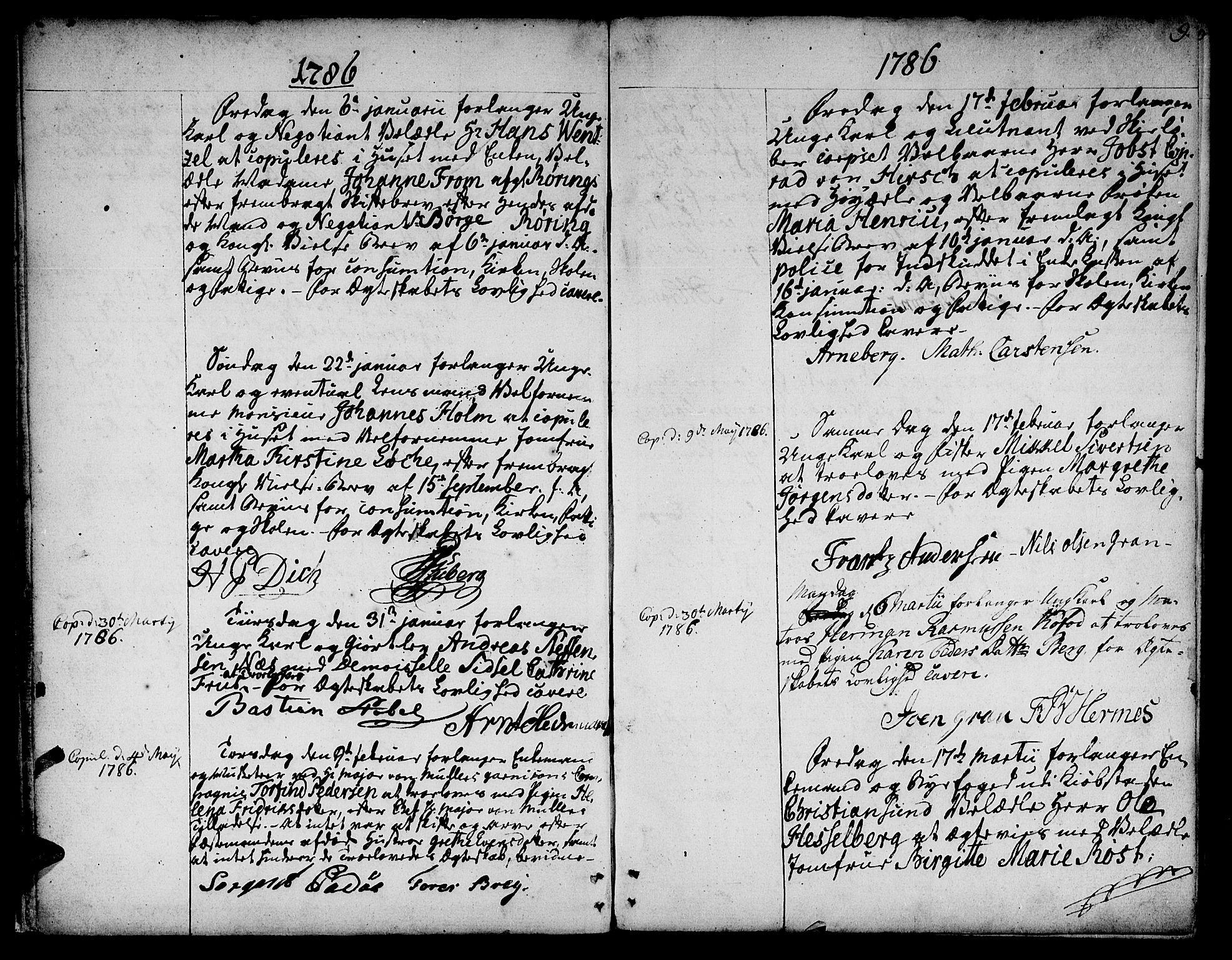 SAT, Ministerialprotokoller, klokkerbøker og fødselsregistre - Sør-Trøndelag, 601/L0041: Ministerialbok nr. 601A09, 1784-1801, s. 9