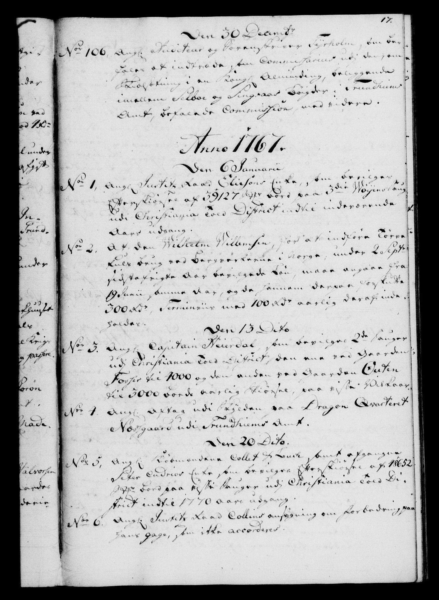RA, Rentekammeret, Kammerkanselliet, G/Gf/Gfb/L0008: Register til norske relasjons- og resolusjonsprotokoller (merket RK 52.103), 1766-1771, s. 17