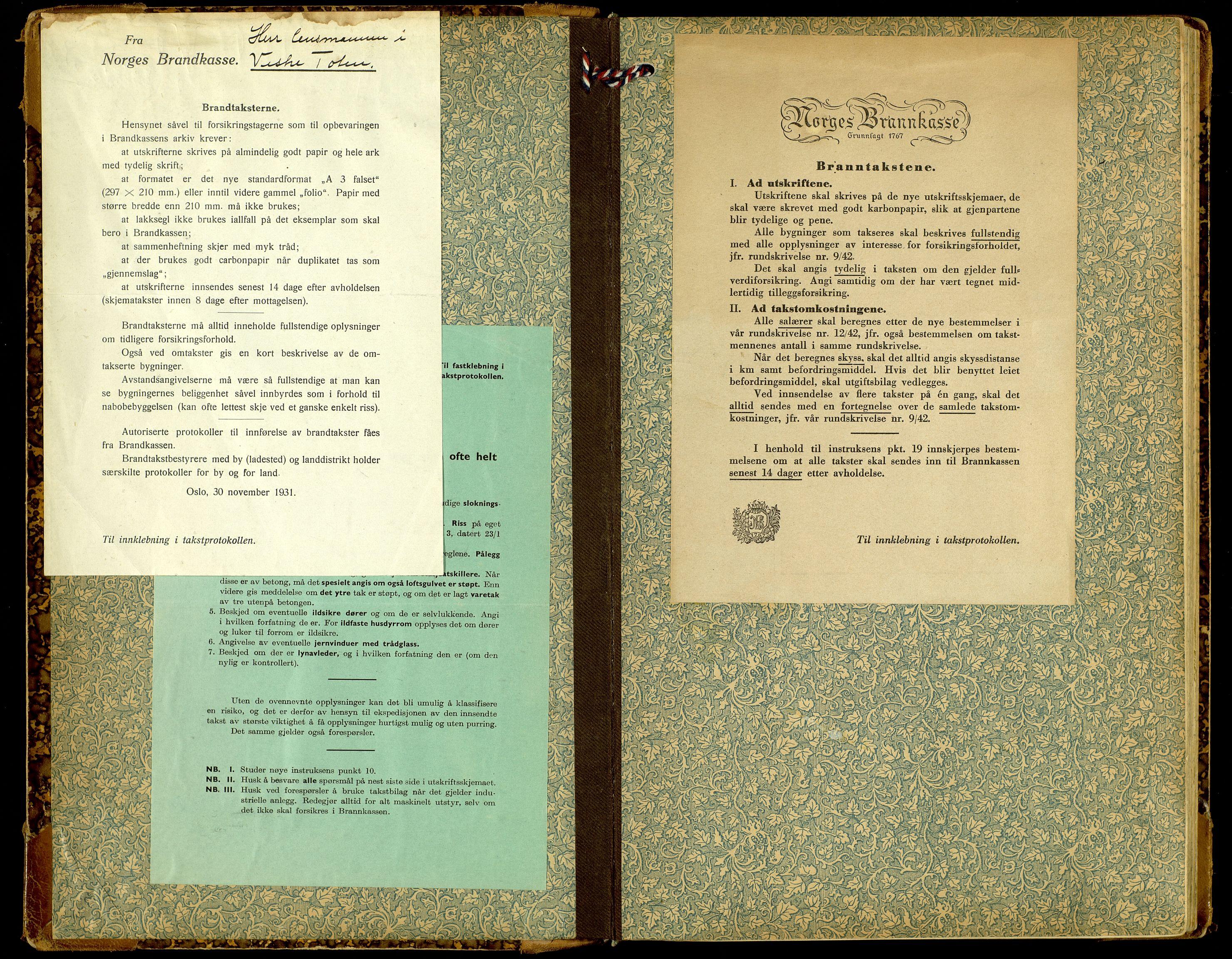 SAH, Norges Brannkasse, Vestre Toten, 1919-1952