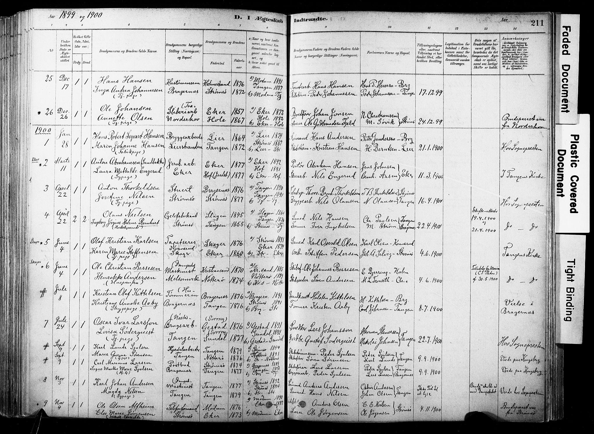 SAKO, Strømsø kirkebøker, F/Fb/L0006: Ministerialbok nr. II 6, 1879-1910, s. 211