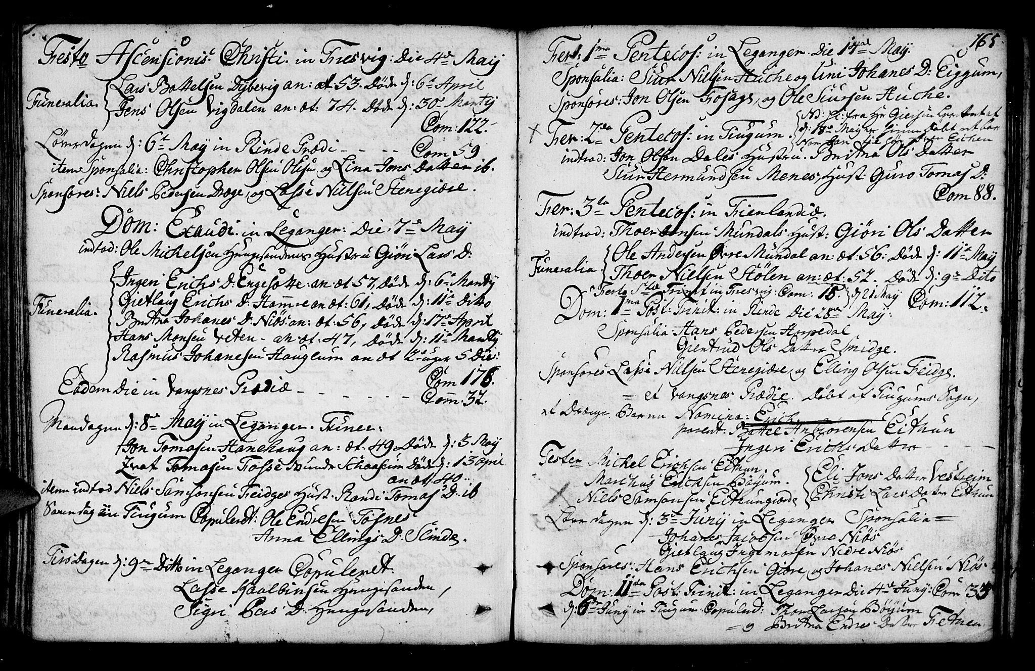 SAB, Leikanger Sokneprestembete, Ministerialbok nr. A 3, 1756-1770, s. 165