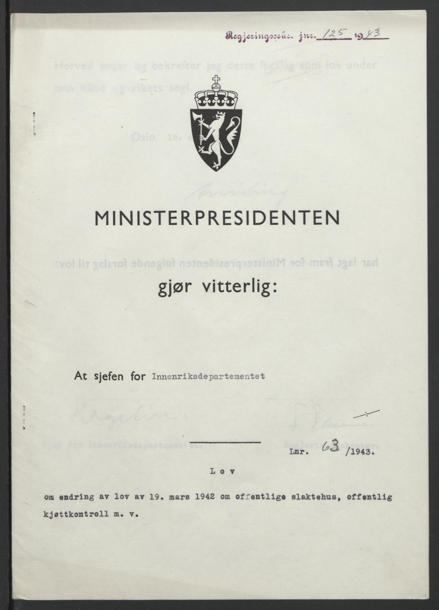 RA, NS-administrasjonen 1940-1945 (Statsrådsekretariatet, de kommisariske statsråder mm), D/Db/L0099: Lover, 1943, s. 293