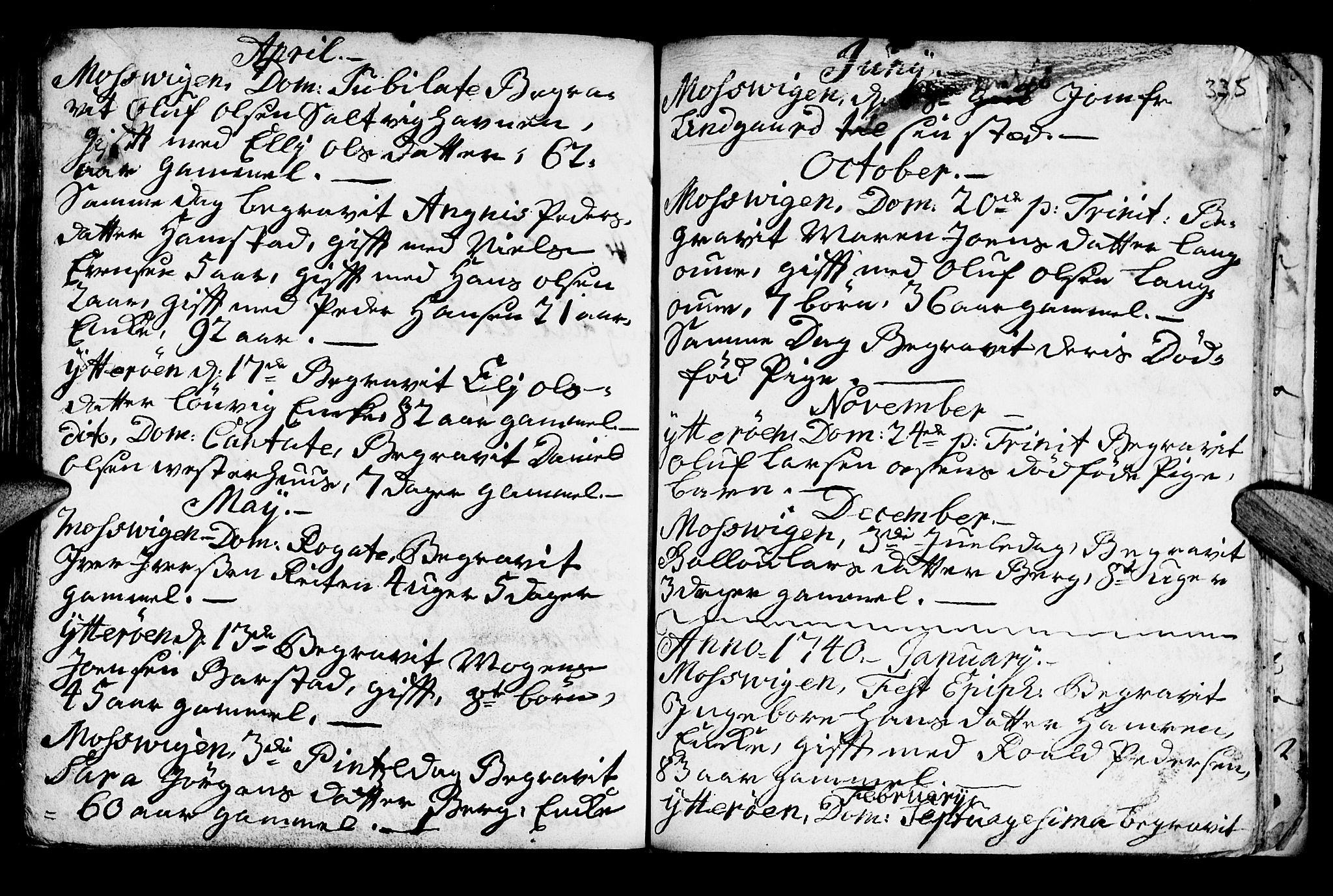 SAT, Ministerialprotokoller, klokkerbøker og fødselsregistre - Nord-Trøndelag, 722/L0215: Ministerialbok nr. 722A02, 1718-1755, s. 335