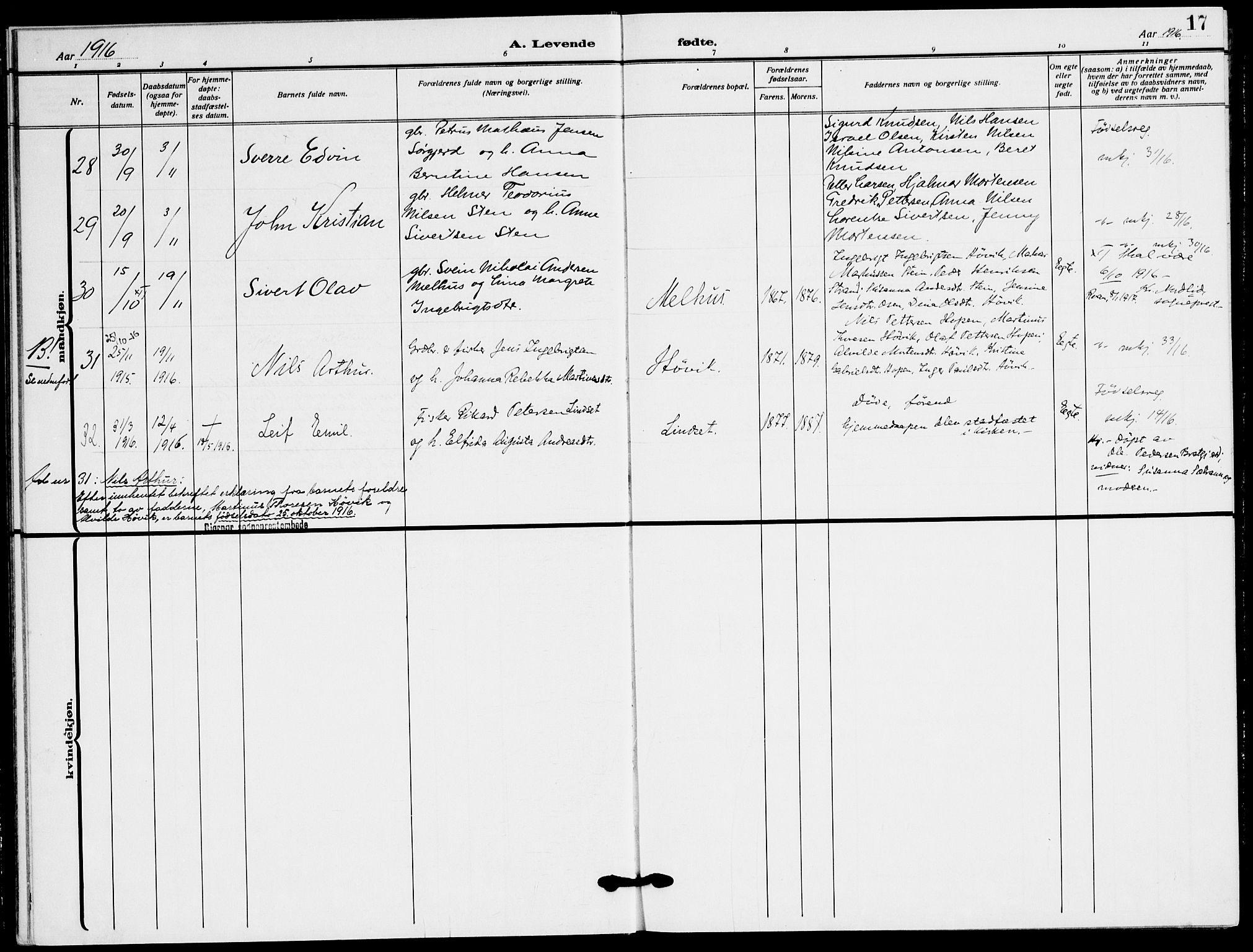 SAT, Ministerialprotokoller, klokkerbøker og fødselsregistre - Sør-Trøndelag, 658/L0724: Ministerialbok nr. 658A03, 1912-1924, s. 17