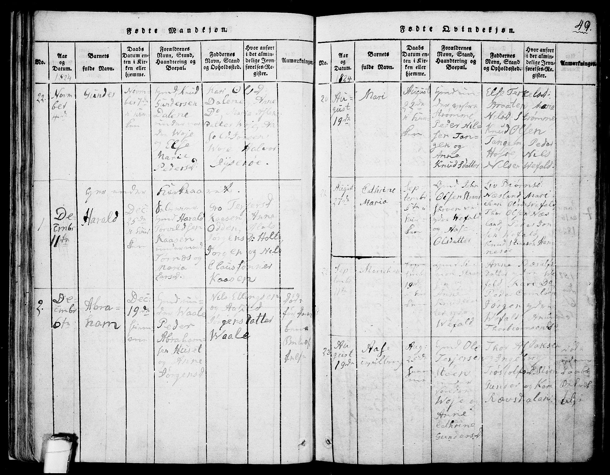 SAKO, Drangedal kirkebøker, F/Fa/L0005: Ministerialbok nr. 5 /1, 1814-1831, s. 49