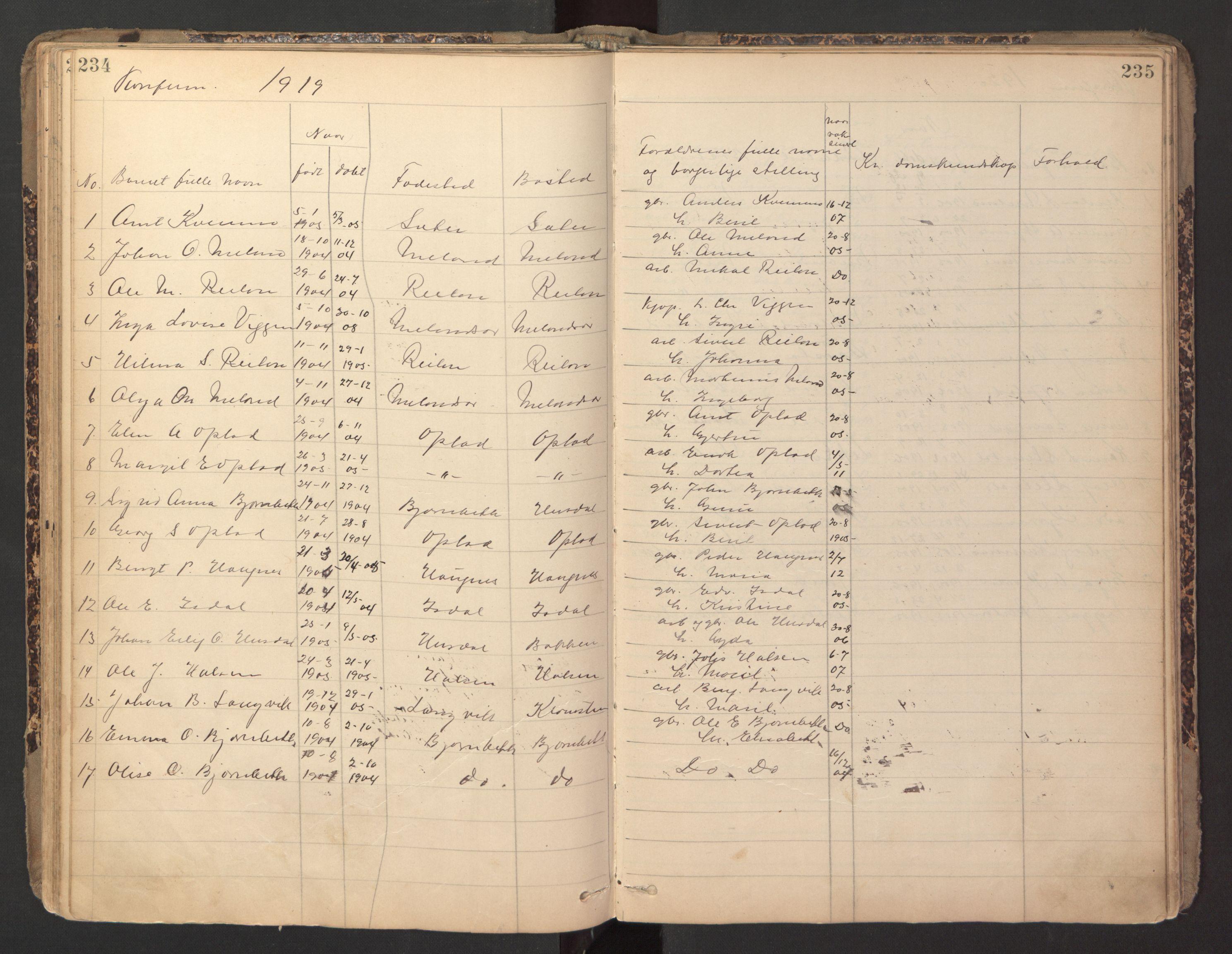 SAT, Ministerialprotokoller, klokkerbøker og fødselsregistre - Sør-Trøndelag, 670/L0837: Klokkerbok nr. 670C01, 1905-1946, s. 234-235