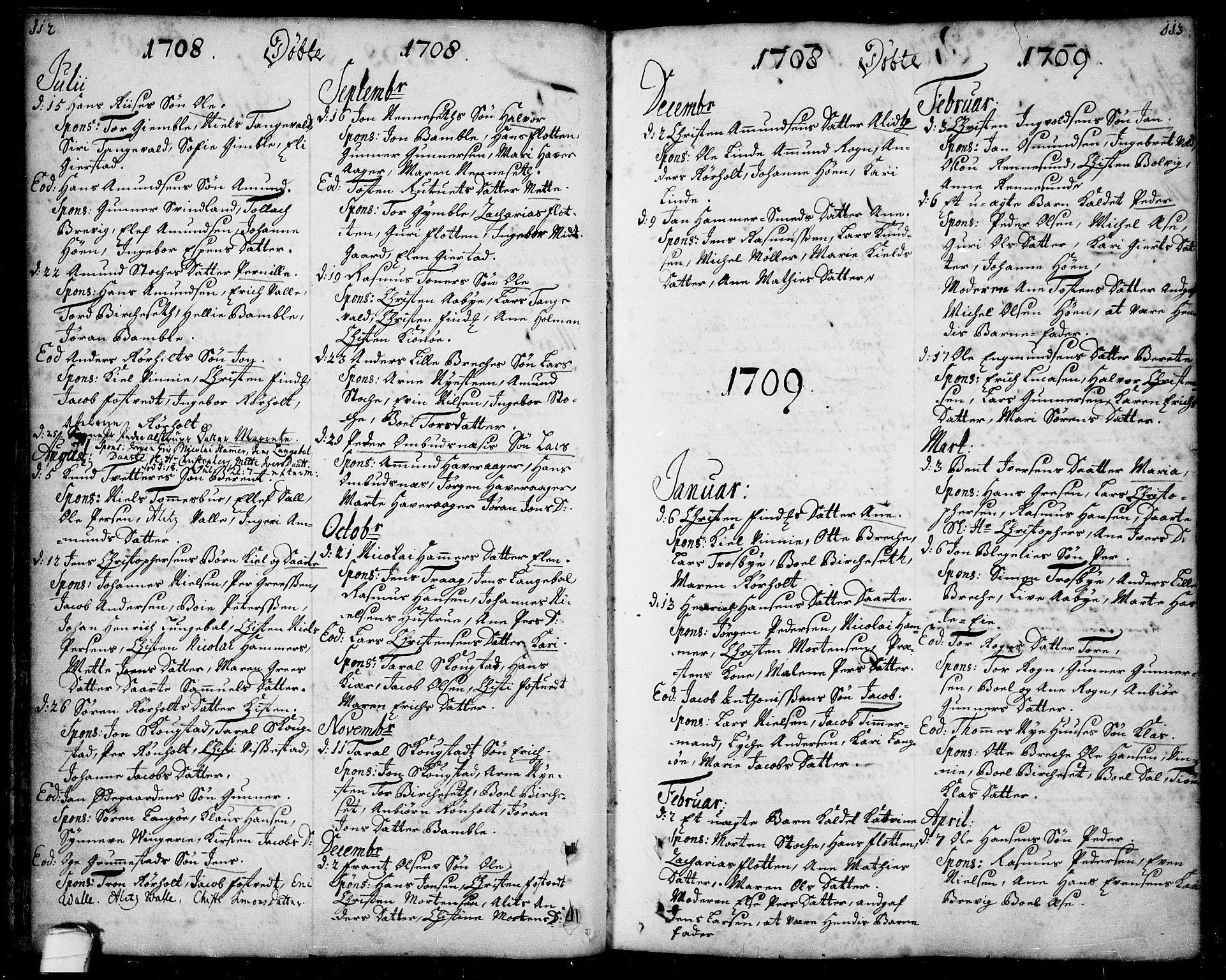SAKO, Bamble kirkebøker, F/Fa/L0001: Ministerialbok nr. I 1, 1702-1774, s. 112-113