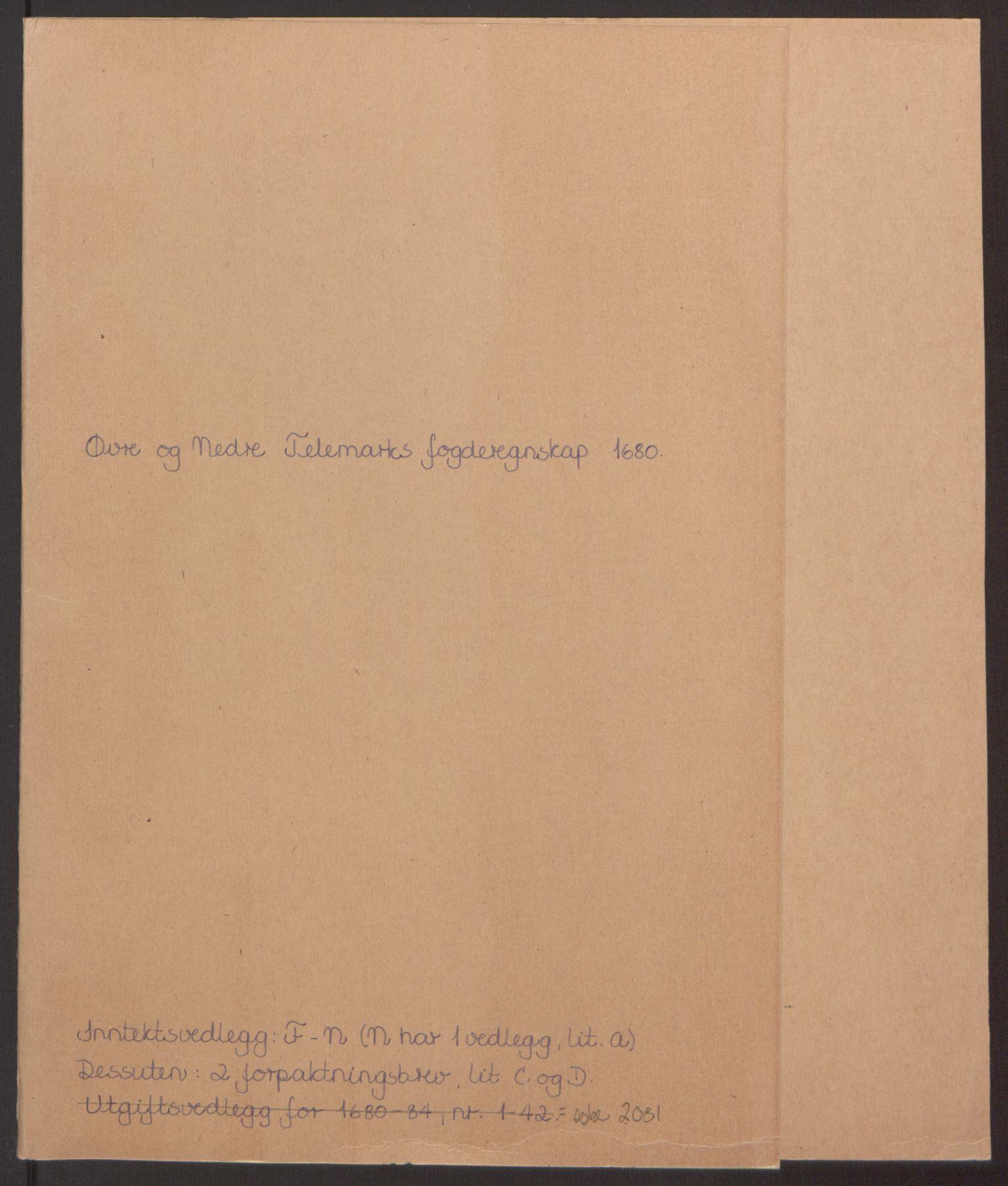 RA, Rentekammeret inntil 1814, Reviderte regnskaper, Fogderegnskap, R35/L2076: Fogderegnskap Øvre og Nedre Telemark, 1680-1684, s. 2