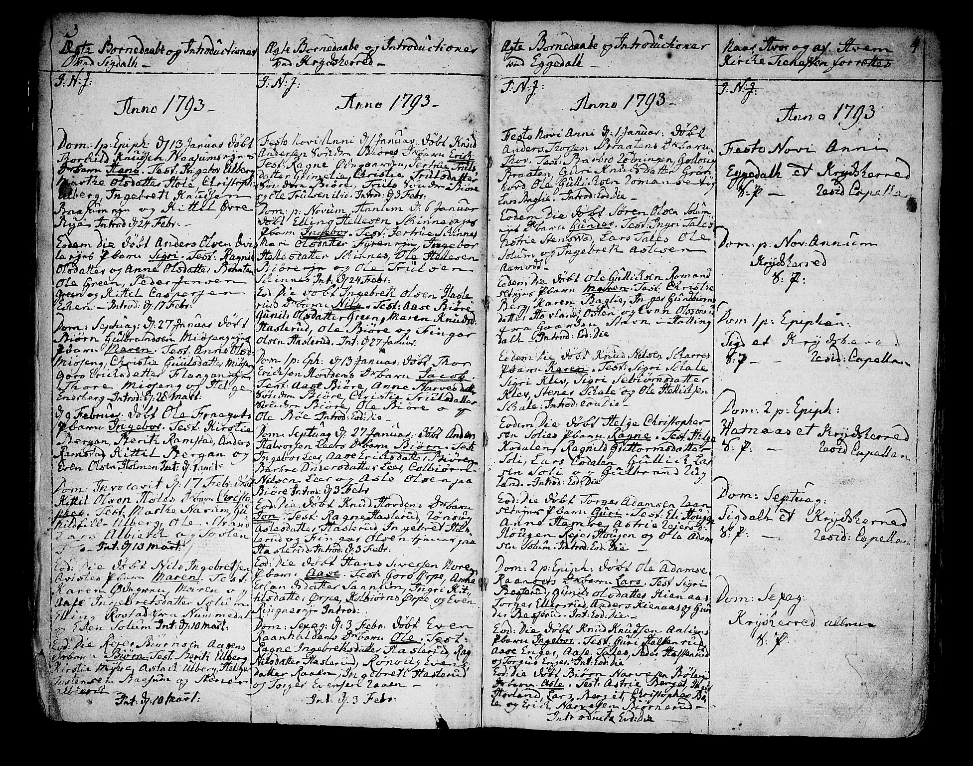 SAKO, Sigdal kirkebøker, F/Fa/L0003: Ministerialbok nr. I 3, 1793-1811, s. 3-4