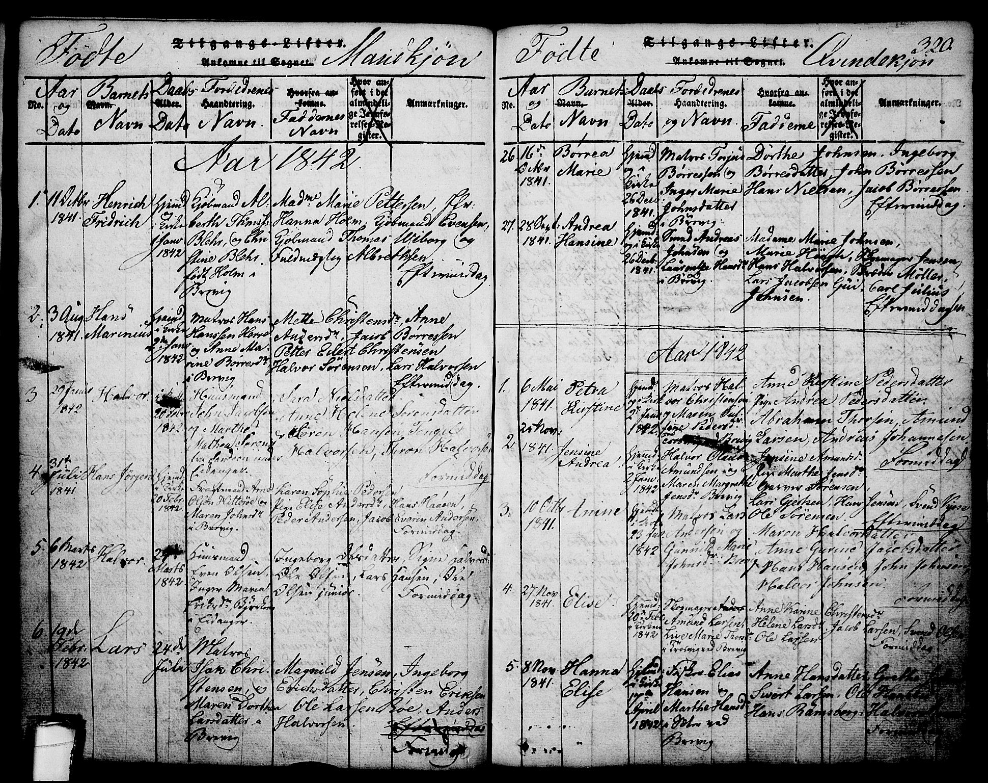 SAKO, Brevik kirkebøker, G/Ga/L0001: Klokkerbok nr. 1, 1814-1845, s. 320