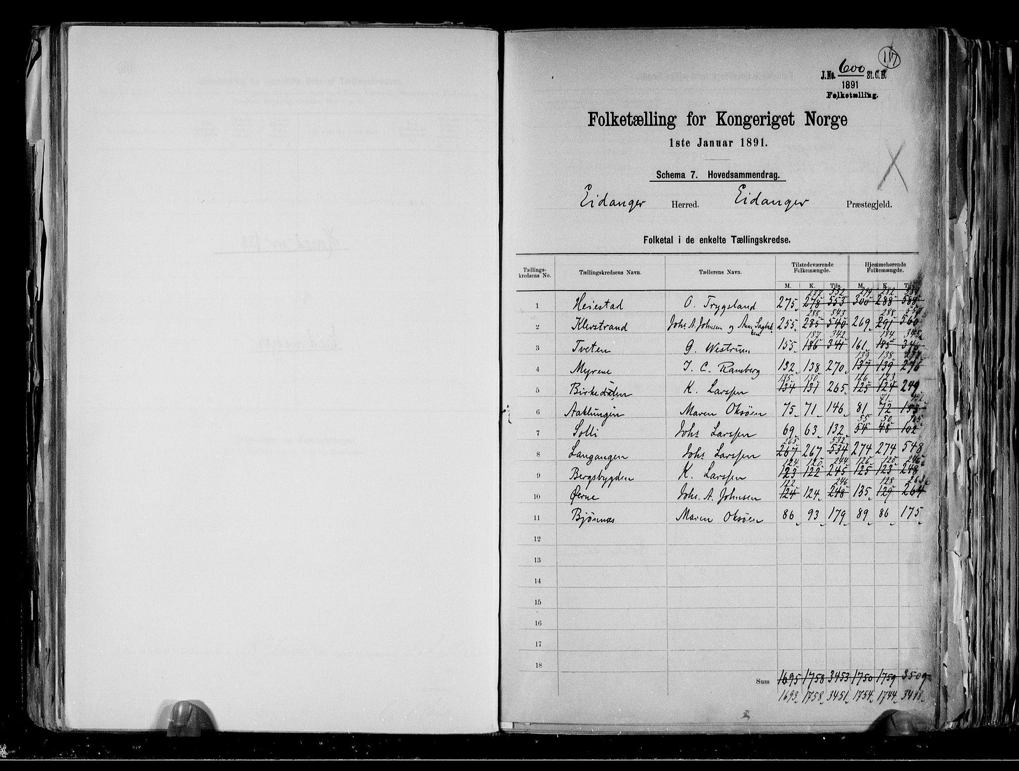 RA, Folketelling 1891 for 0813 Eidanger herred, 1891, s. 2