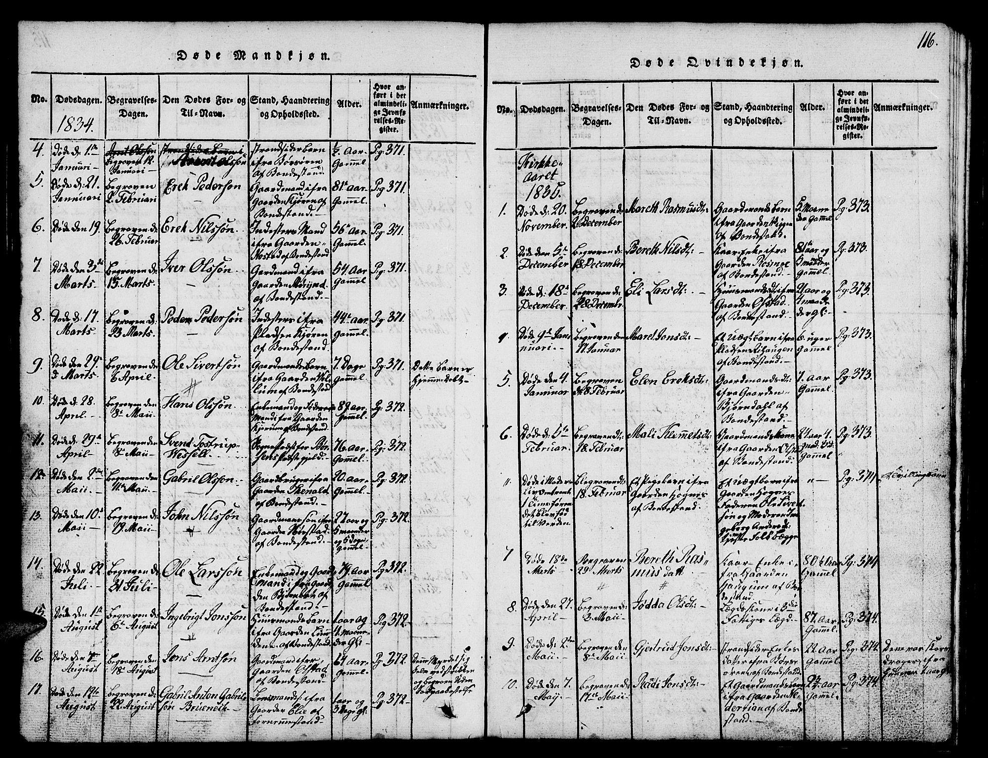 SAT, Ministerialprotokoller, klokkerbøker og fødselsregistre - Sør-Trøndelag, 665/L0776: Klokkerbok nr. 665C01, 1817-1837, s. 116