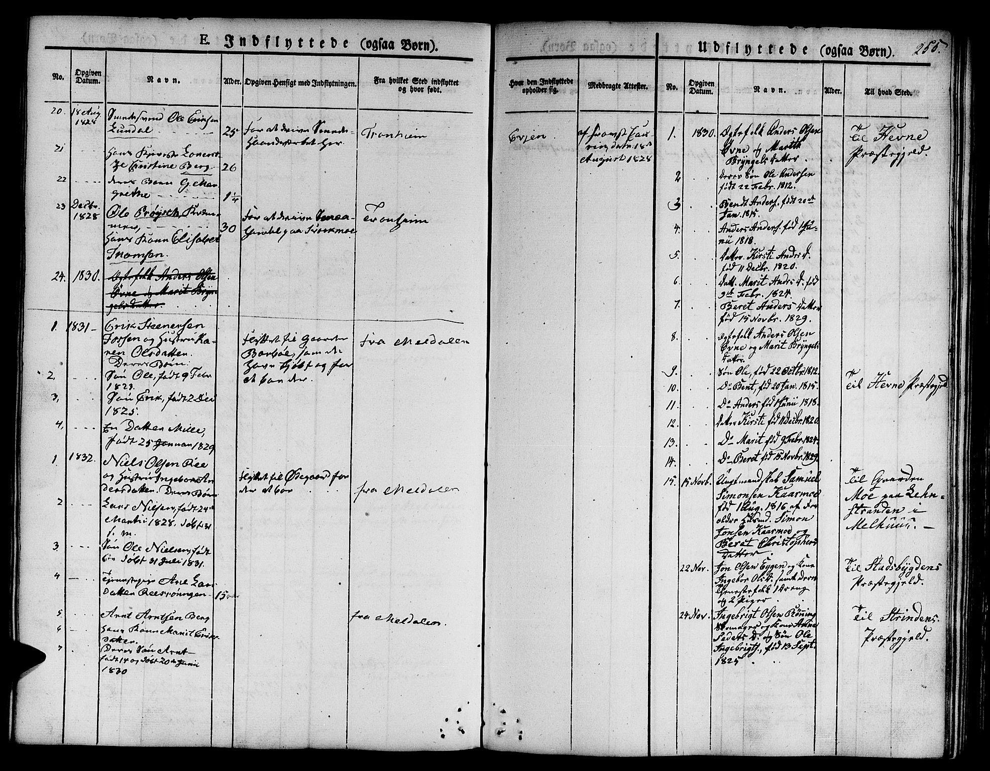 SAT, Ministerialprotokoller, klokkerbøker og fødselsregistre - Sør-Trøndelag, 668/L0804: Ministerialbok nr. 668A04, 1826-1839, s. 255