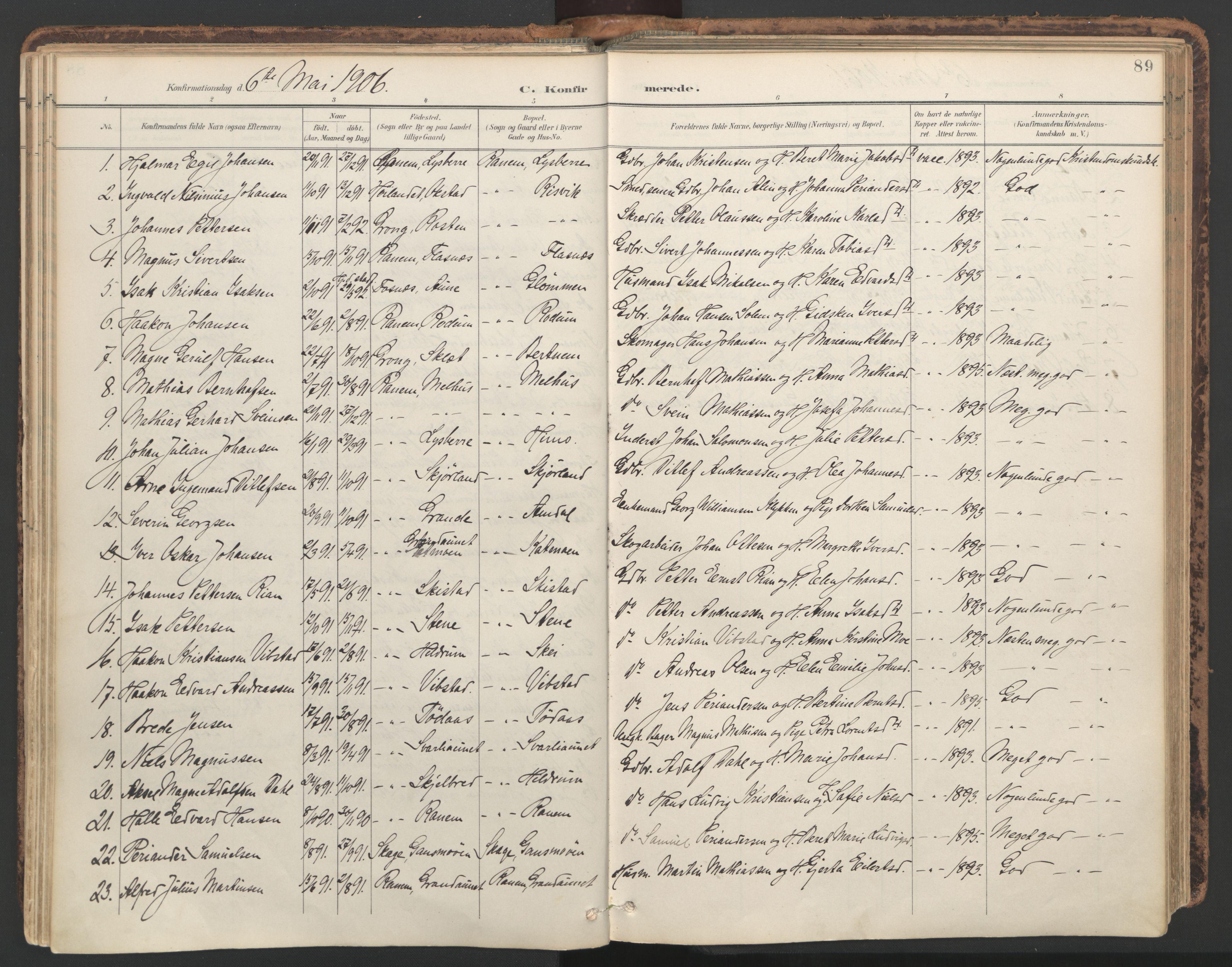 SAT, Ministerialprotokoller, klokkerbøker og fødselsregistre - Nord-Trøndelag, 764/L0556: Ministerialbok nr. 764A11, 1897-1924, s. 89