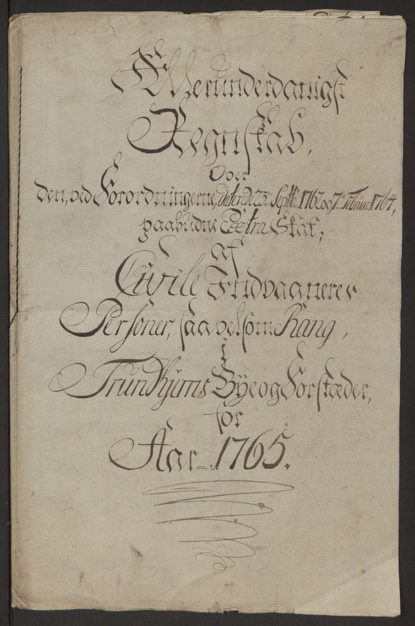 RA, Rentekammeret inntil 1814, Reviderte regnskaper, Byregnskaper, R/Rs/L0516: [S9] Kontribusjonsregnskap, 1762-1767, s. 324