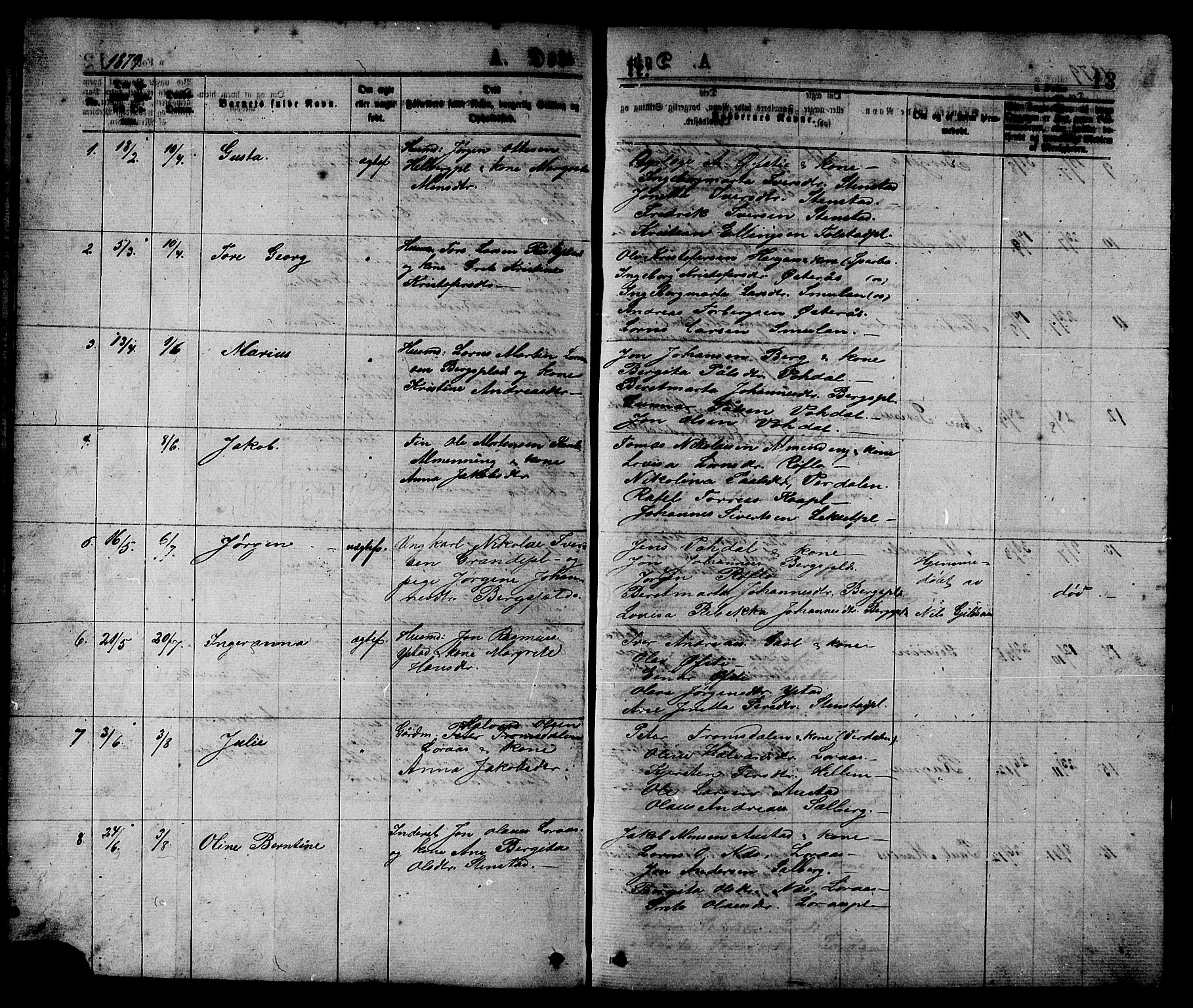 SAT, Ministerialprotokoller, klokkerbøker og fødselsregistre - Nord-Trøndelag, 731/L0311: Klokkerbok nr. 731C02, 1875-1911, s. 13