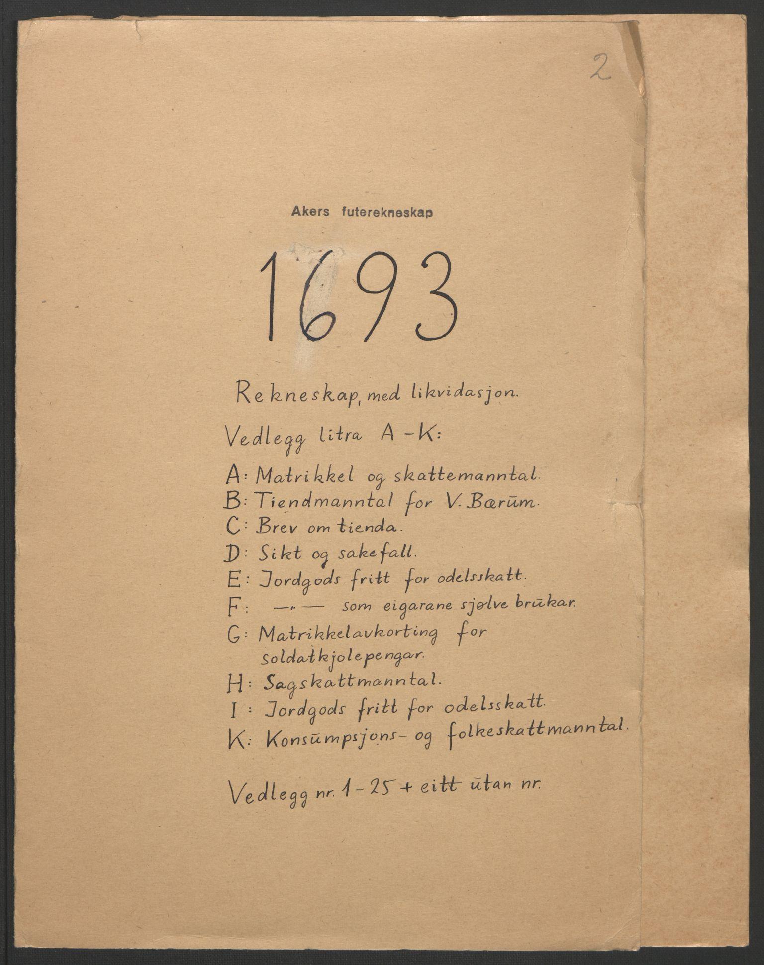 RA, Rentekammeret inntil 1814, Reviderte regnskaper, Fogderegnskap, R08/L0426: Fogderegnskap Aker, 1692-1693, s. 262
