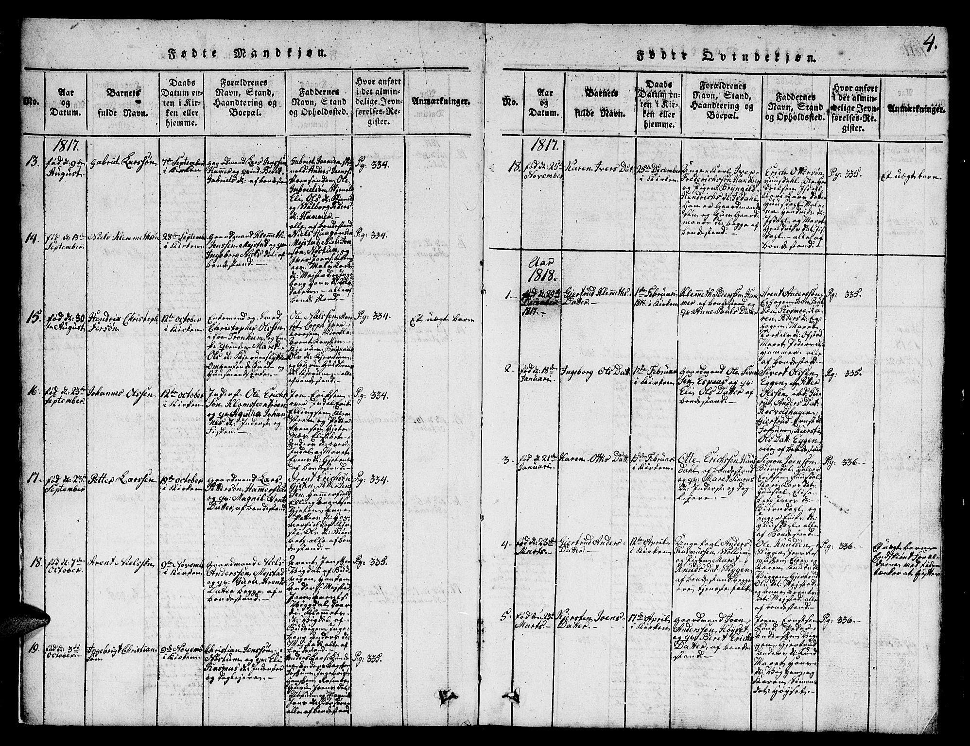 SAT, Ministerialprotokoller, klokkerbøker og fødselsregistre - Sør-Trøndelag, 665/L0776: Klokkerbok nr. 665C01, 1817-1837, s. 4