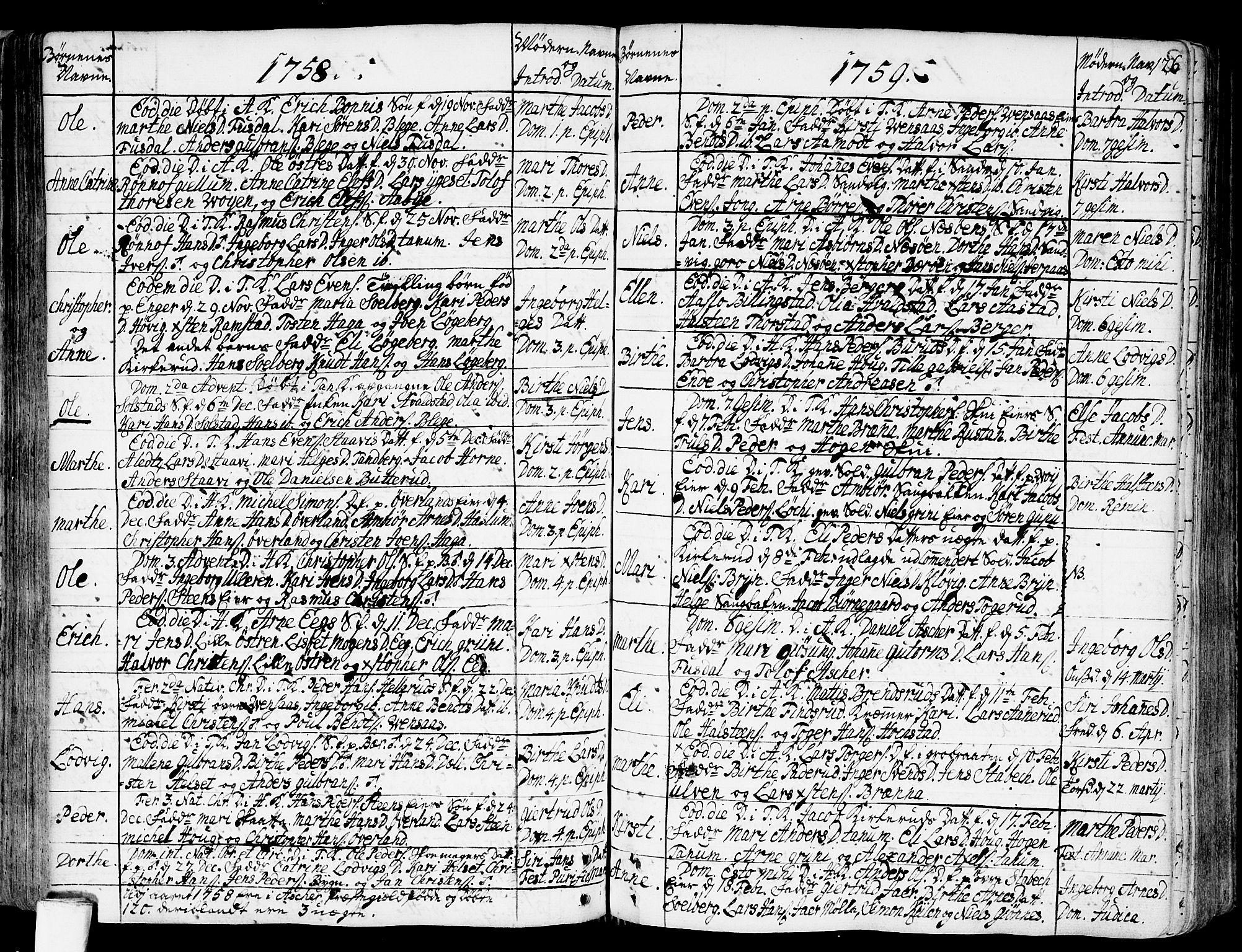 SAO, Asker prestekontor Kirkebøker, F/Fa/L0002: Ministerialbok nr. I 2, 1733-1766, s. 126