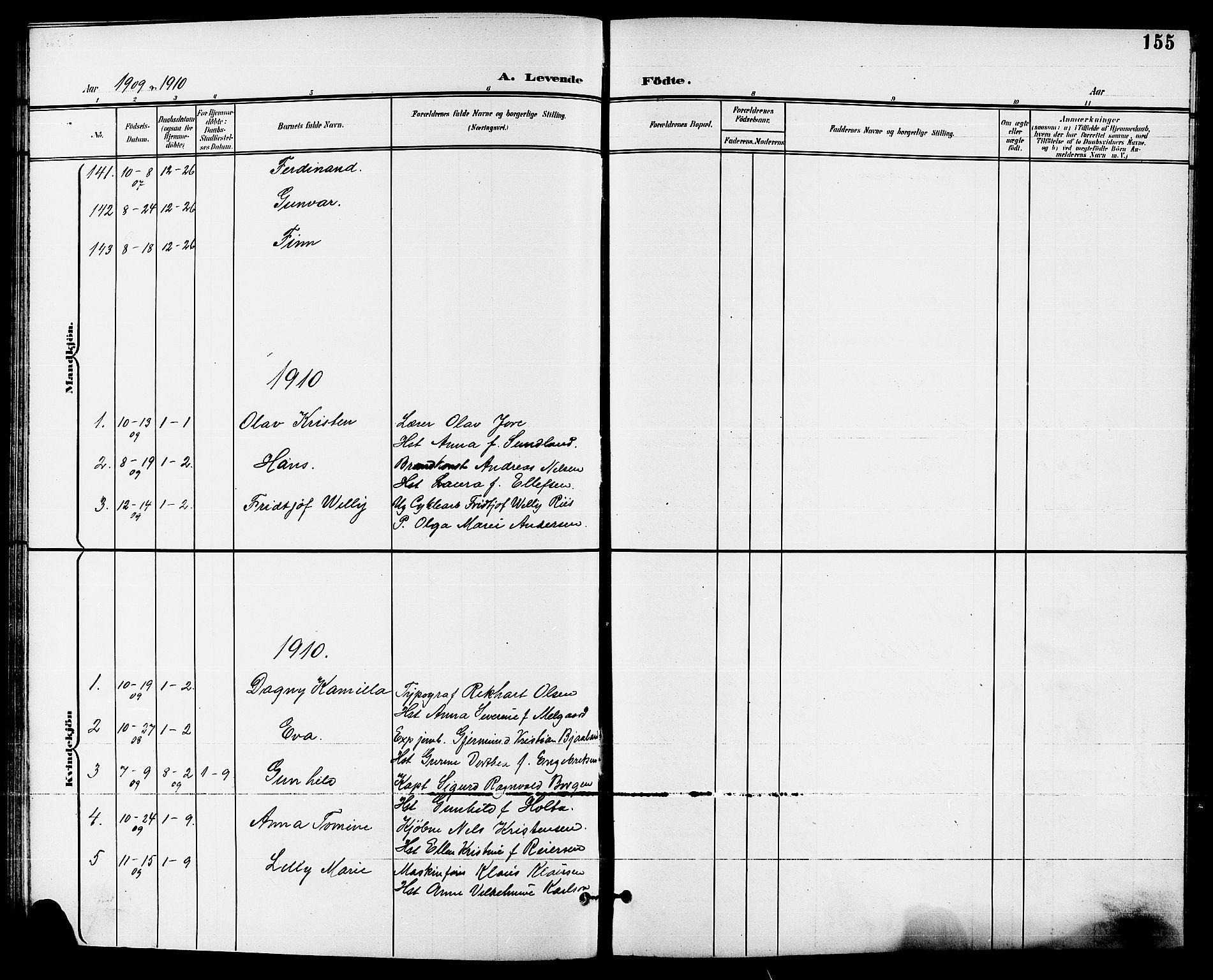 SAKO, Skien kirkebøker, G/Ga/L0008: Klokkerbok nr. 8, 1900-1910, s. 155