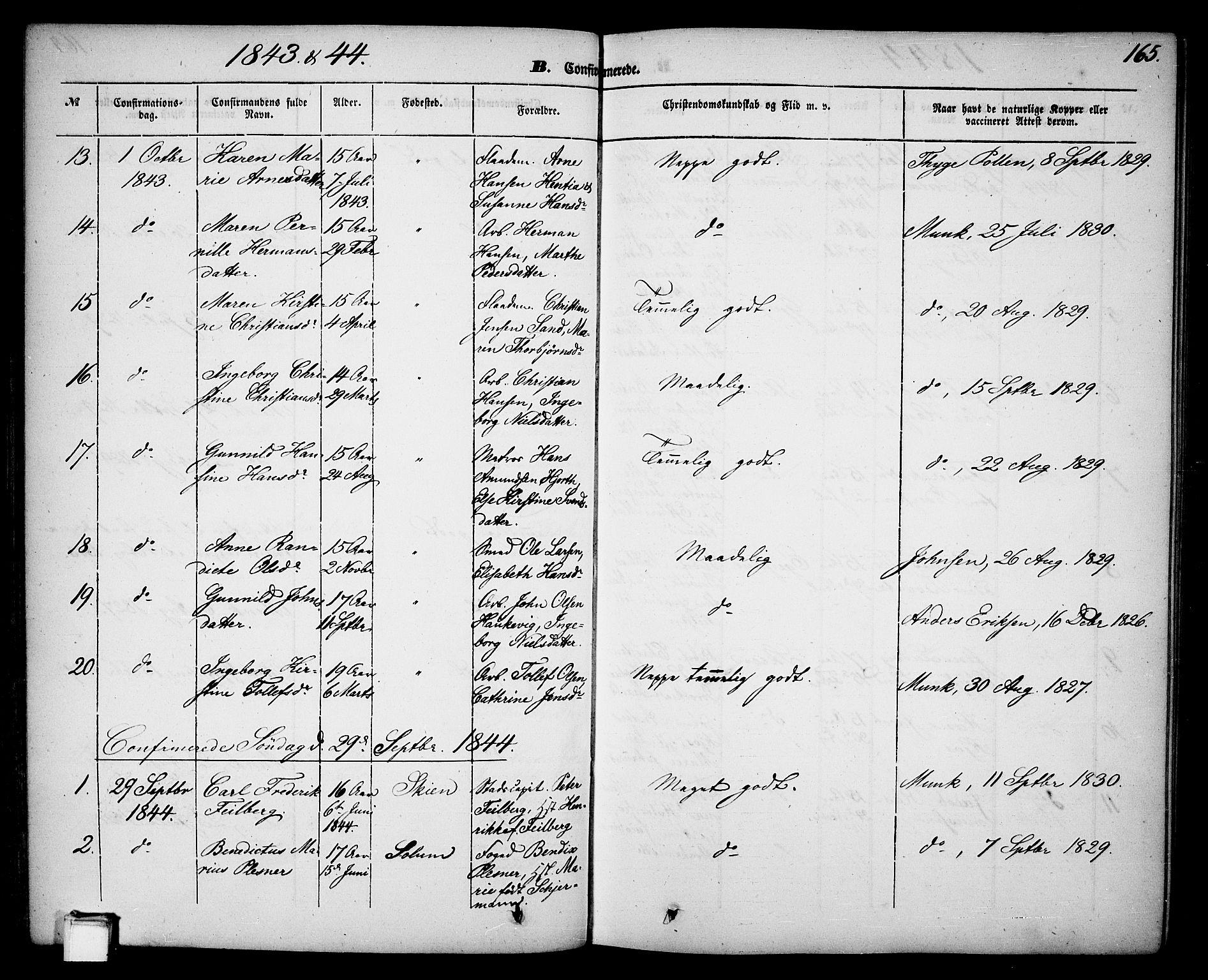 SAKO, Skien kirkebøker, G/Ga/L0004: Klokkerbok nr. 4, 1843-1867, s. 165