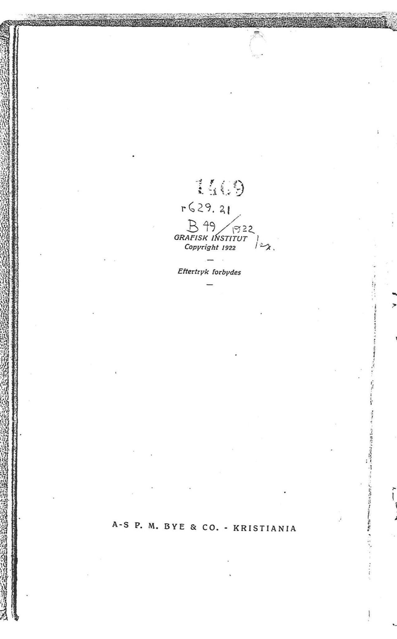 PUBL, Andre publikasjoner, -/-: Bilboken for Norge 1922, 1922