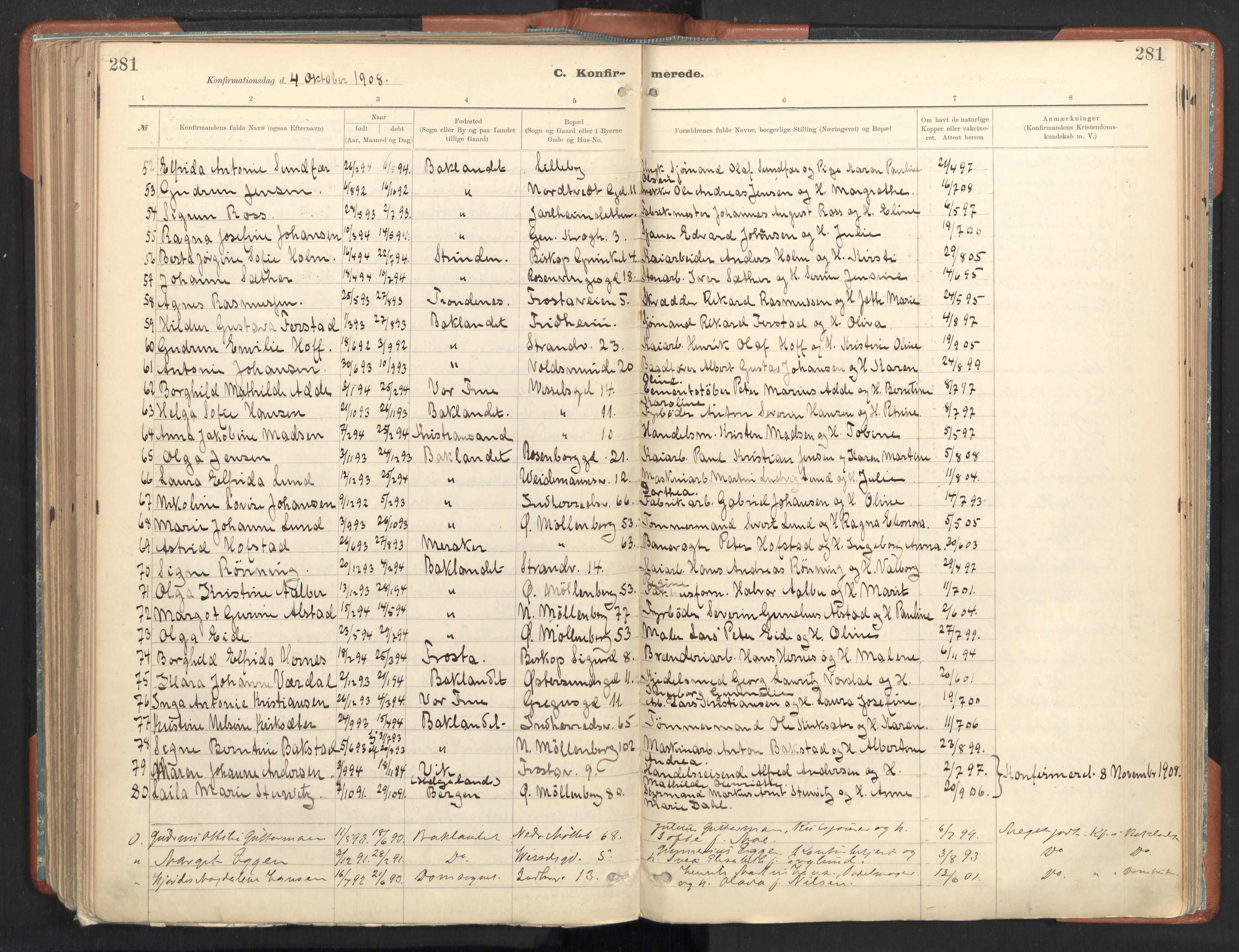 SAT, Ministerialprotokoller, klokkerbøker og fødselsregistre - Sør-Trøndelag, 605/L0243: Ministerialbok nr. 605A05, 1908-1923, s. 281