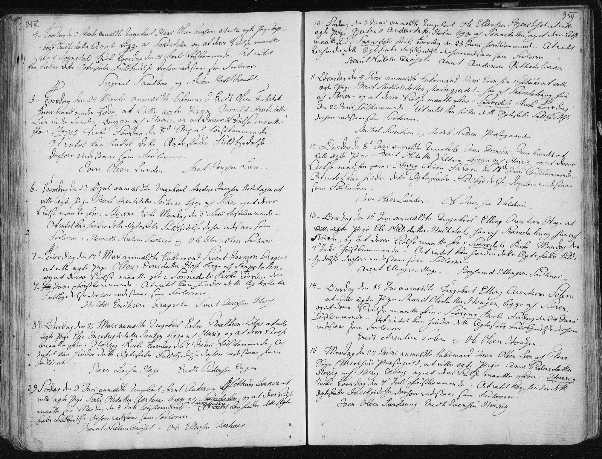 SAT, Ministerialprotokoller, klokkerbøker og fødselsregistre - Sør-Trøndelag, 687/L0992: Ministerialbok nr. 687A03 /1, 1788-1815, s. 358-359