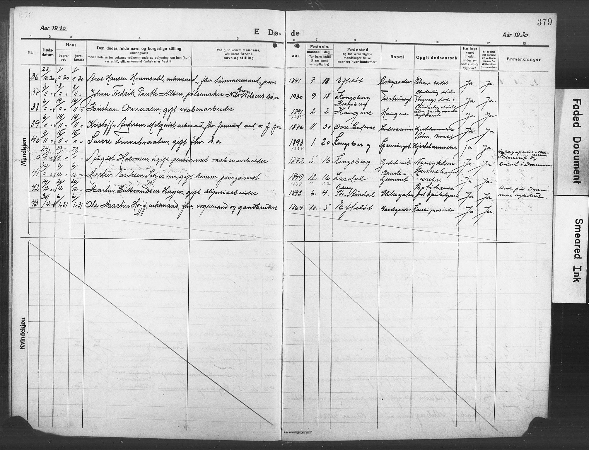 SAKO, Kongsberg kirkebøker, G/Ga/L0008: Klokkerbok nr. 8, 1915-1932, s. 379