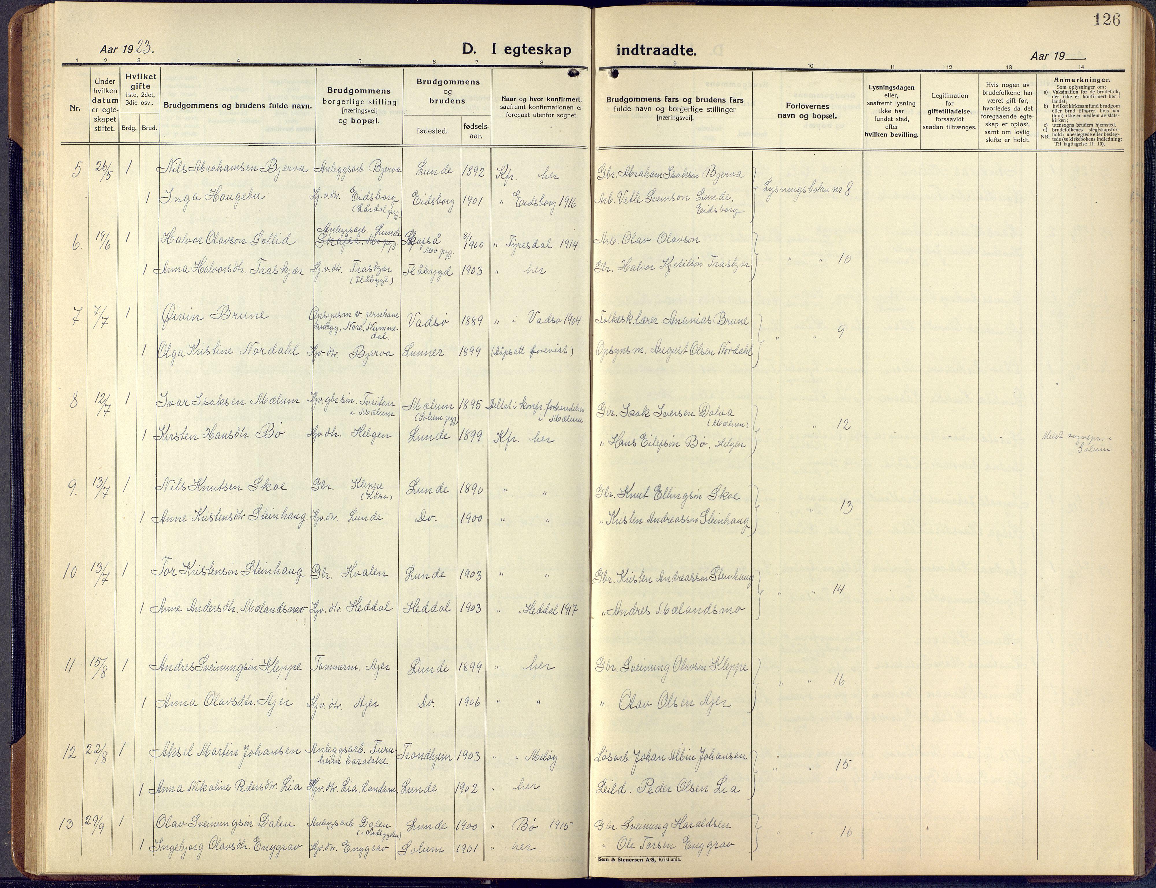 SAKO, Lunde kirkebøker, F/Fa/L0006: Ministerialbok nr. I 6, 1922-1940, s. 126