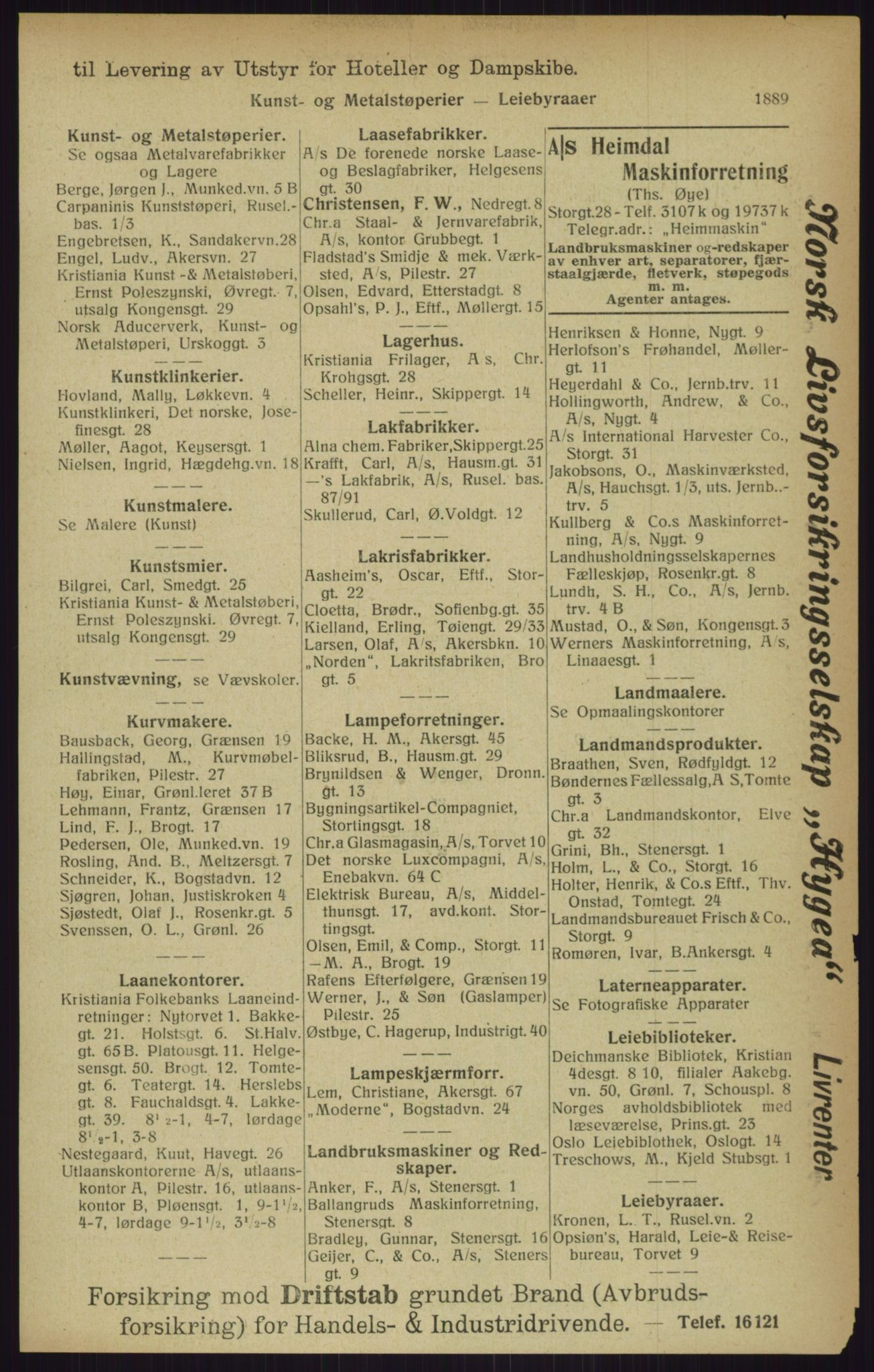 RA, Kristiania adressebok (publikasjon)*, 1916, s. 1889