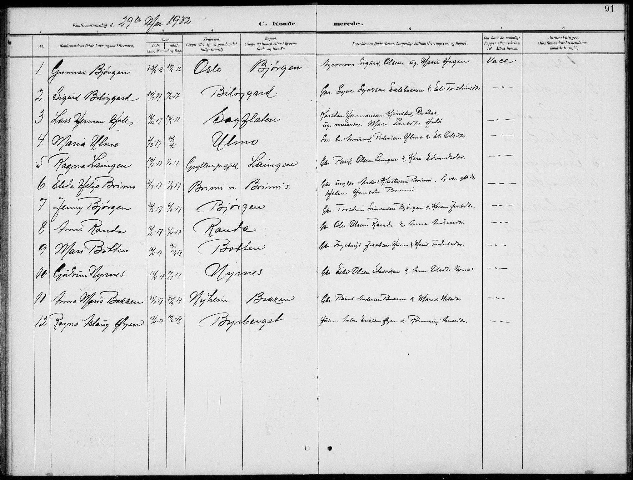 SAH, Lom prestekontor, L/L0006: Klokkerbok nr. 6, 1901-1939, s. 91