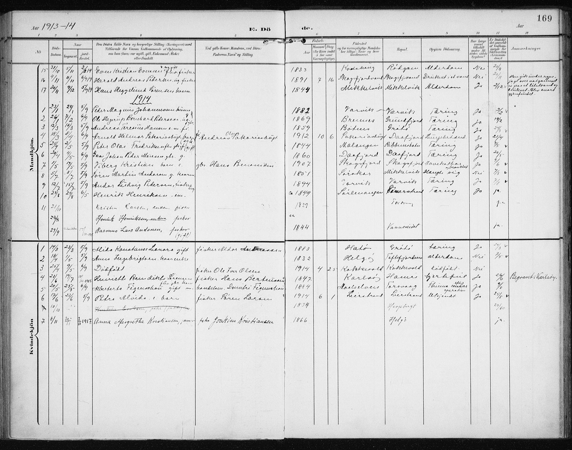 SATØ, Karlsøy sokneprestembete, Ministerialbok nr. 13, 1902-1916, s. 169
