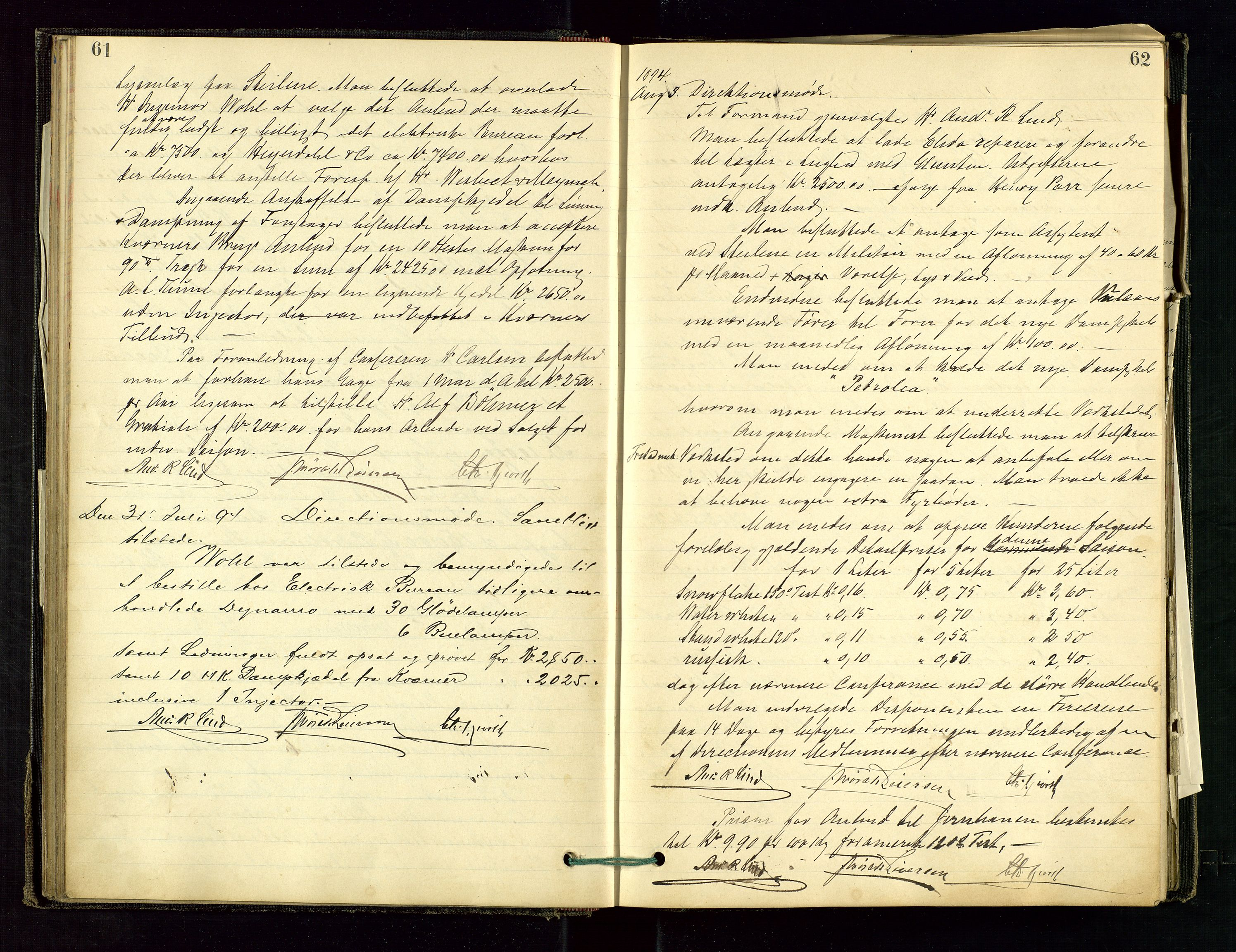 SAST, PA 1534 - Østlandske Petroleumscompagni A/S, A/Aa/L0001: Generalforsamlinger og direksjonsprotokoller., 1892-1905, s. 61-62