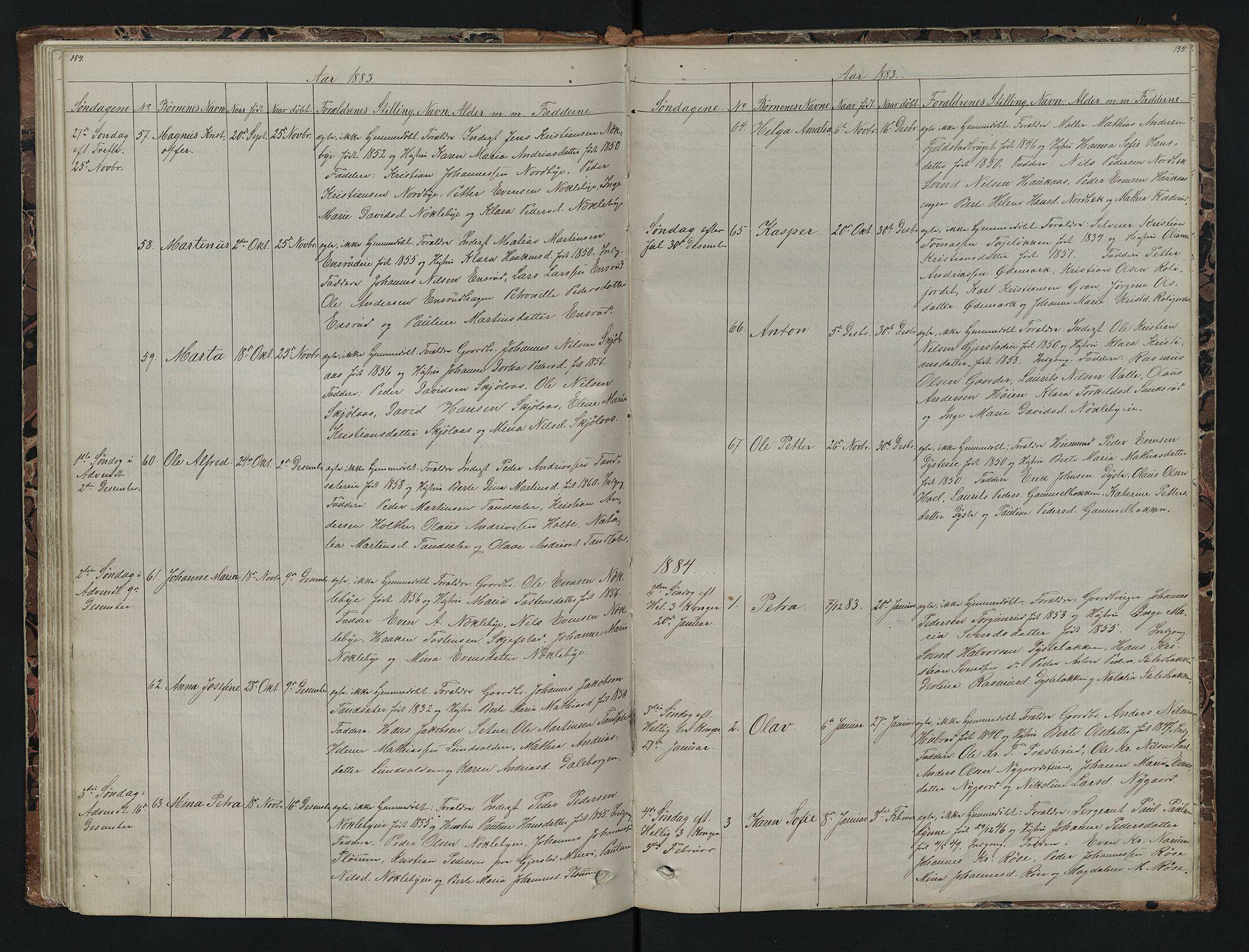 SAH, Vestre Toten prestekontor, Klokkerbok nr. 7, 1872-1900, s. 154-155