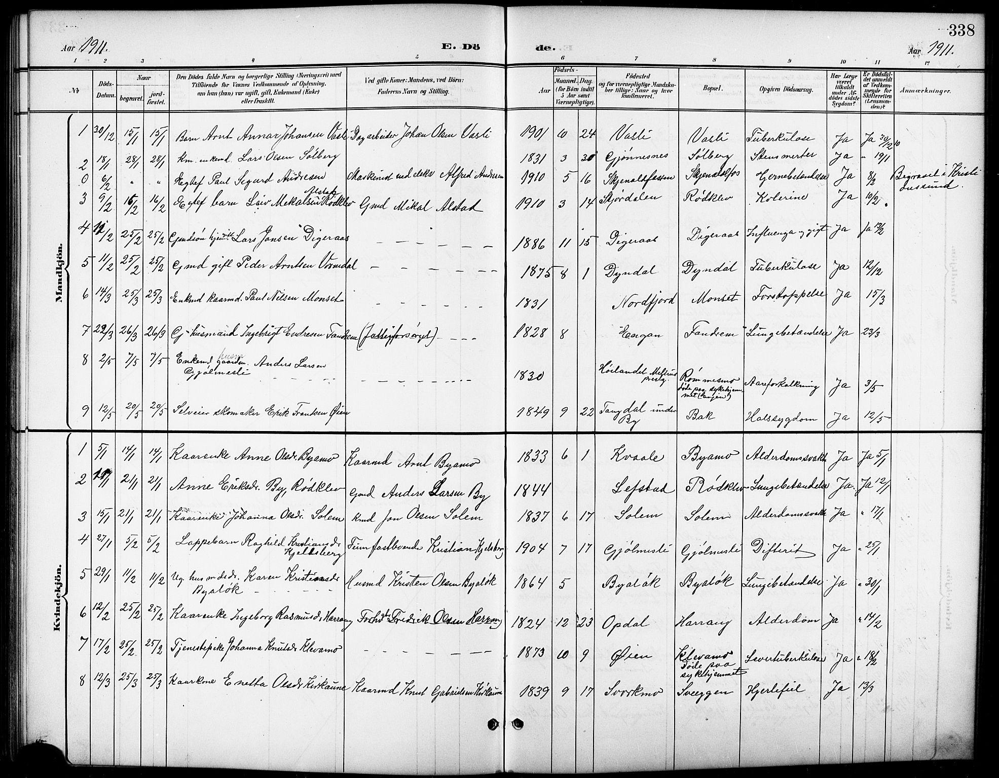 SAT, Ministerialprotokoller, klokkerbøker og fødselsregistre - Sør-Trøndelag, 668/L0819: Klokkerbok nr. 668C08, 1899-1912, s. 338