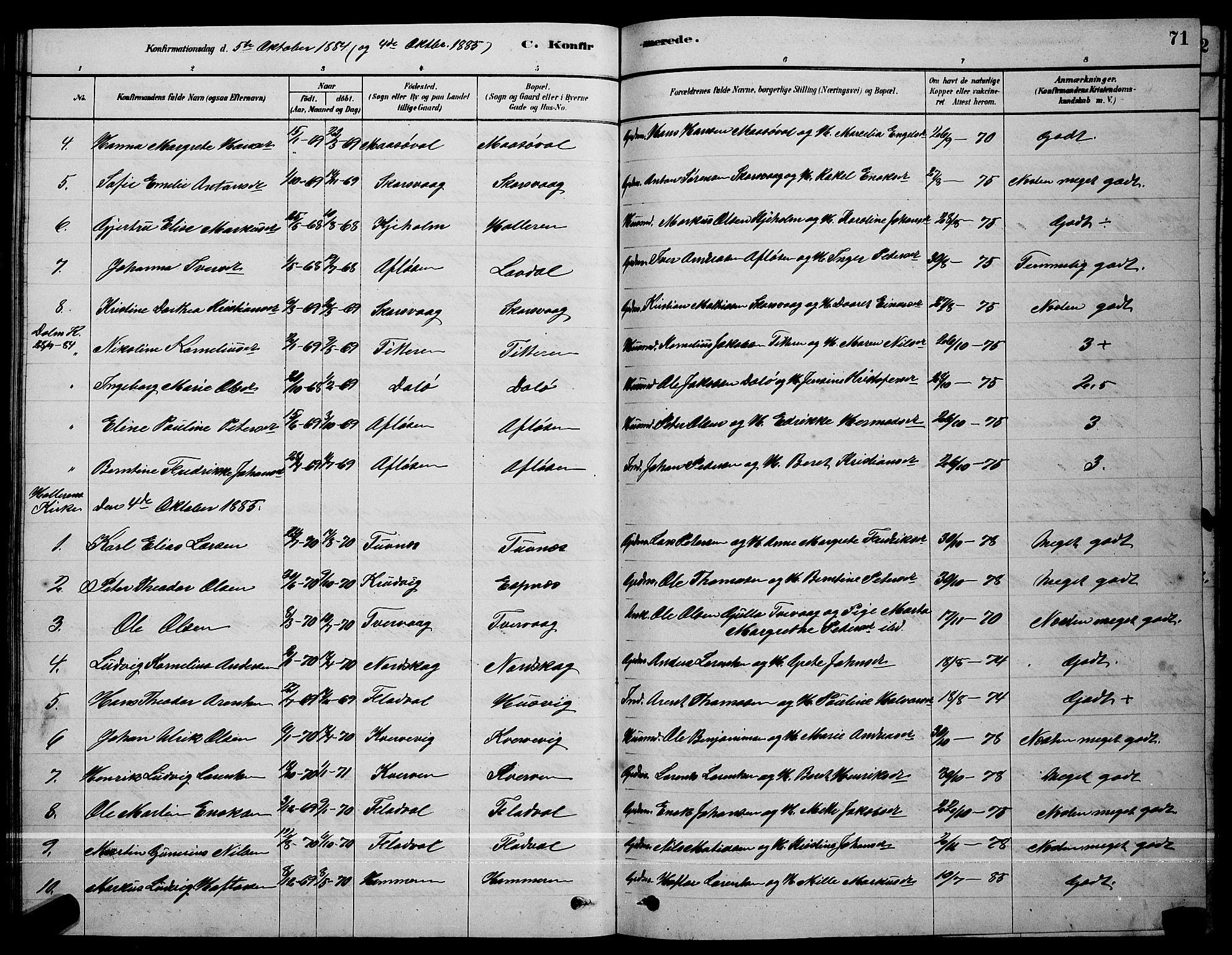 SAT, Ministerialprotokoller, klokkerbøker og fødselsregistre - Sør-Trøndelag, 641/L0597: Klokkerbok nr. 641C01, 1878-1893, s. 71