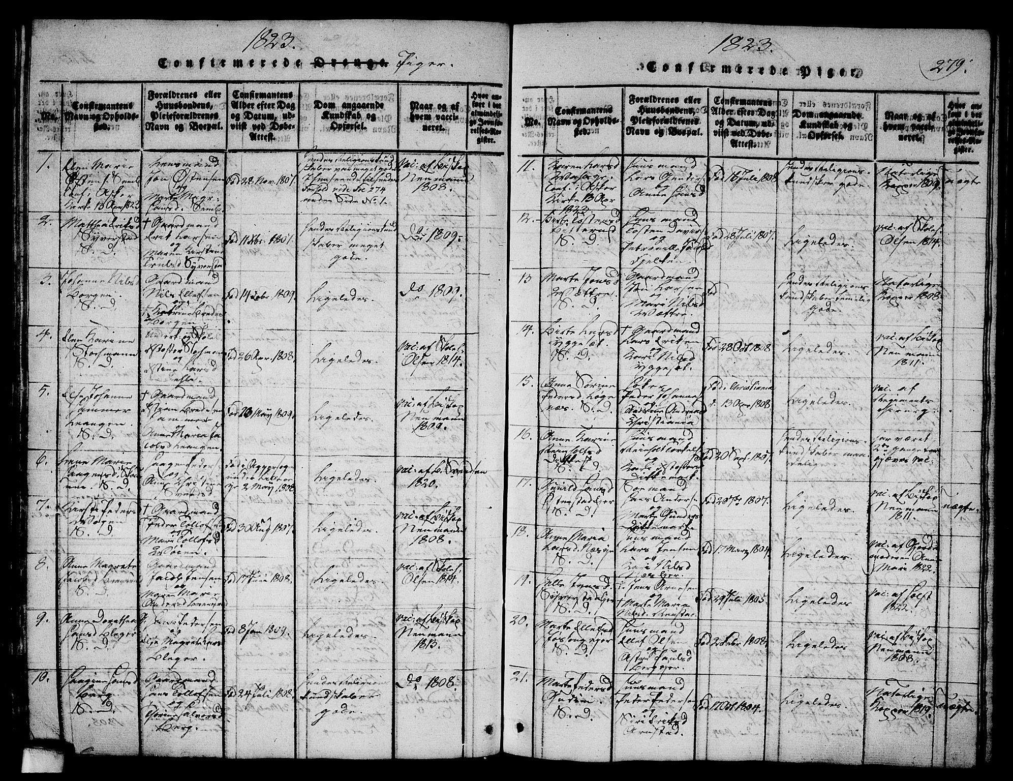 SAO, Asker prestekontor Kirkebøker, G/Ga/L0001: Klokkerbok nr. I 1, 1814-1830, s. 279