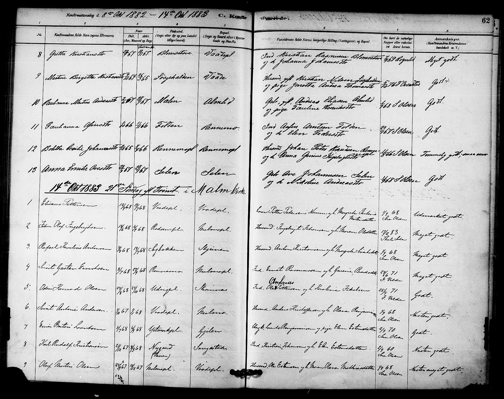 SAT, Ministerialprotokoller, klokkerbøker og fødselsregistre - Nord-Trøndelag, 745/L0429: Ministerialbok nr. 745A01, 1878-1894, s. 62