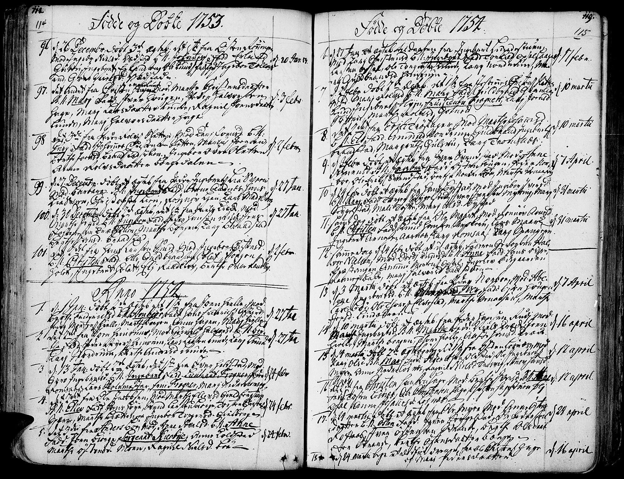 SAH, Ringebu prestekontor, Ministerialbok nr. 2, 1734-1780, s. 114-115