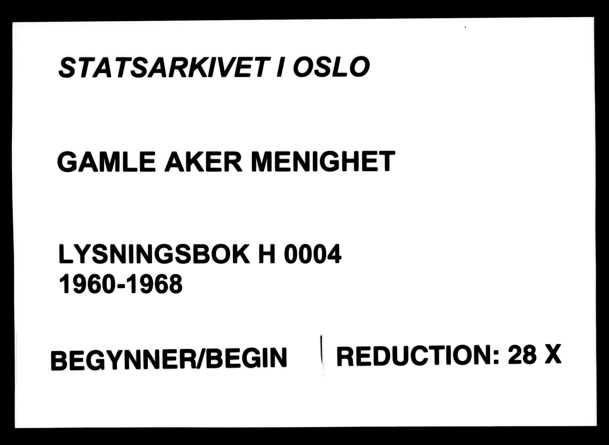 SAO, Gamle Aker prestekontor Kirkebøker, H/L0012: Lysningsprotokoll nr. 12, 1960-1968