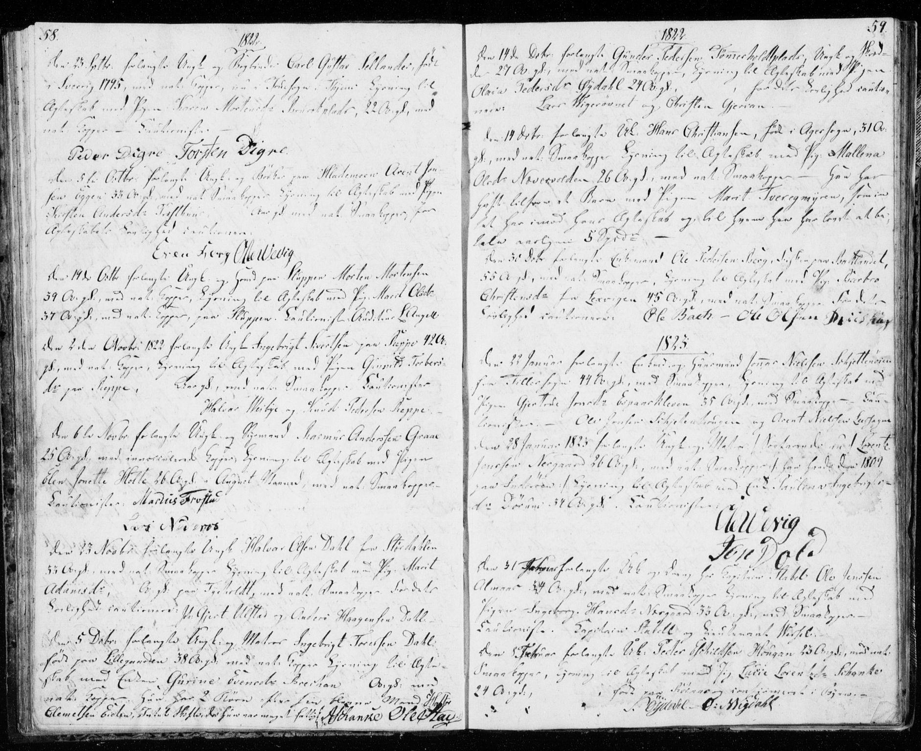 SAT, Ministerialprotokoller, klokkerbøker og fødselsregistre - Sør-Trøndelag, 606/L0295: Lysningsprotokoll nr. 606A10, 1815-1833, s. 58-59