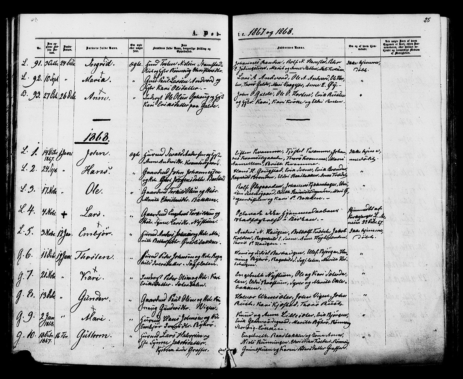 SAH, Lom prestekontor, K/L0007: Ministerialbok nr. 7, 1863-1884, s. 28