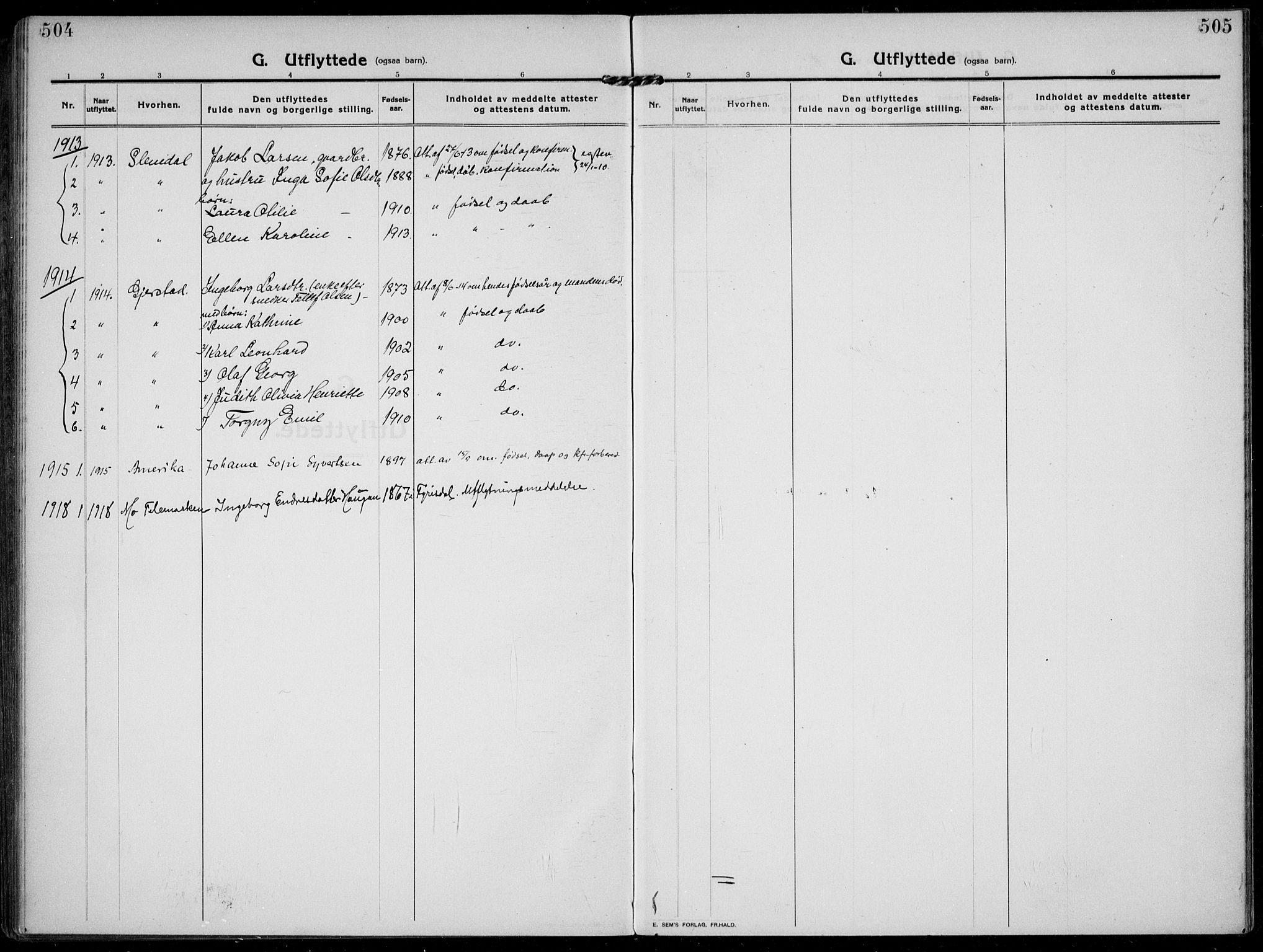 SAKO, Solum kirkebøker, F/Fb/L0004: Ministerialbok nr. II 4, 1913-1924, s. 504-505