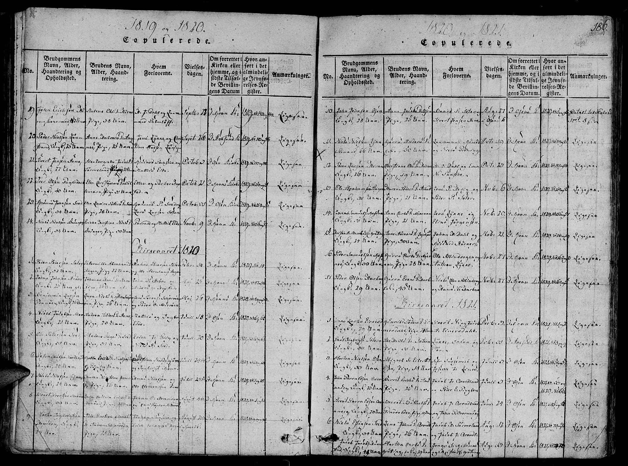 SAT, Ministerialprotokoller, klokkerbøker og fødselsregistre - Sør-Trøndelag, 657/L0702: Ministerialbok nr. 657A03, 1818-1831, s. 186