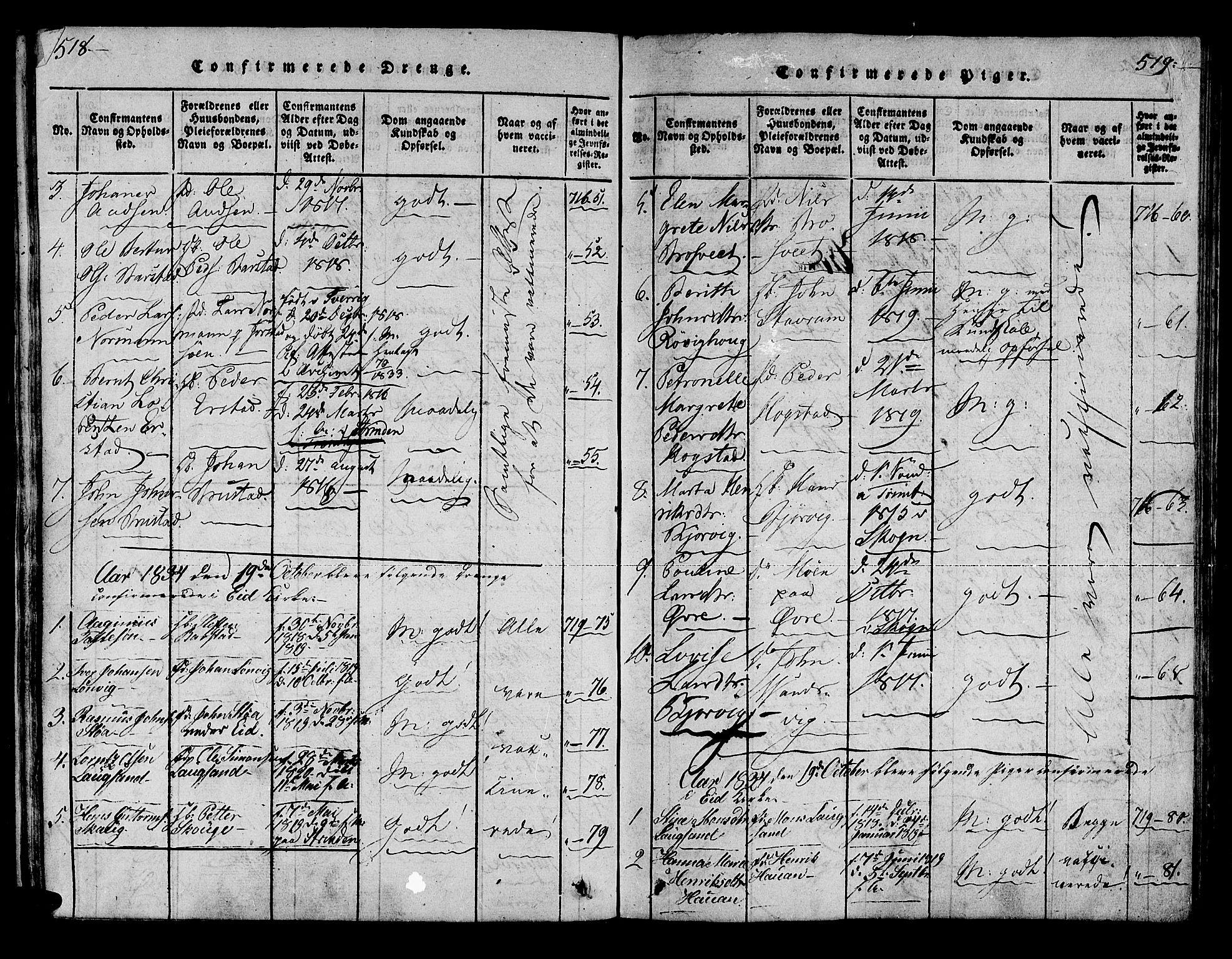 SAT, Ministerialprotokoller, klokkerbøker og fødselsregistre - Nord-Trøndelag, 722/L0217: Ministerialbok nr. 722A04, 1817-1842, s. 518-519